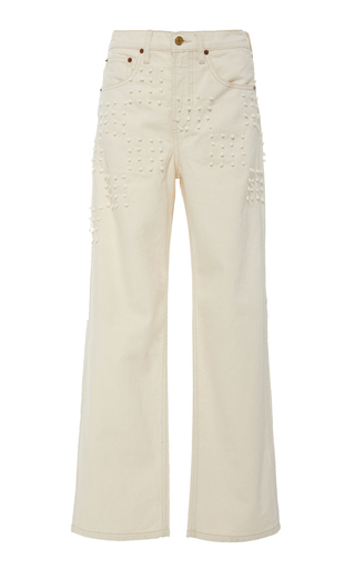 B Sides PLEIN EMBROIDERED HIGH-RISE STRAIGHT-LEG JEANS