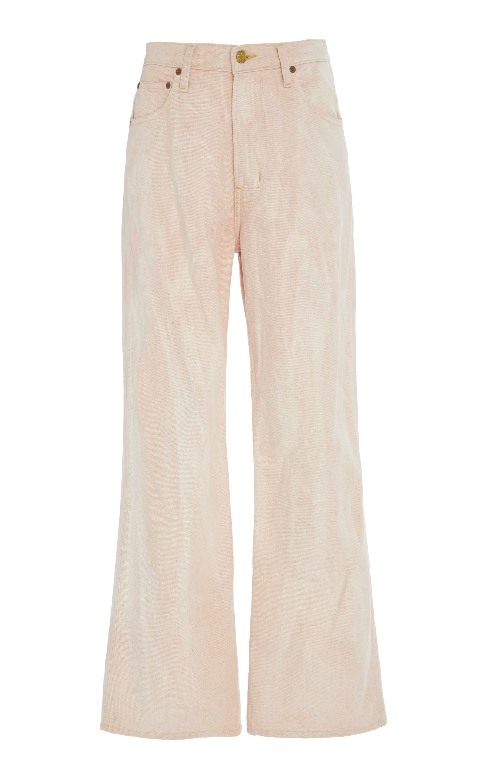 B SIDES Plein High-Rise Straight-Leg Watercolor Jeans in Pink