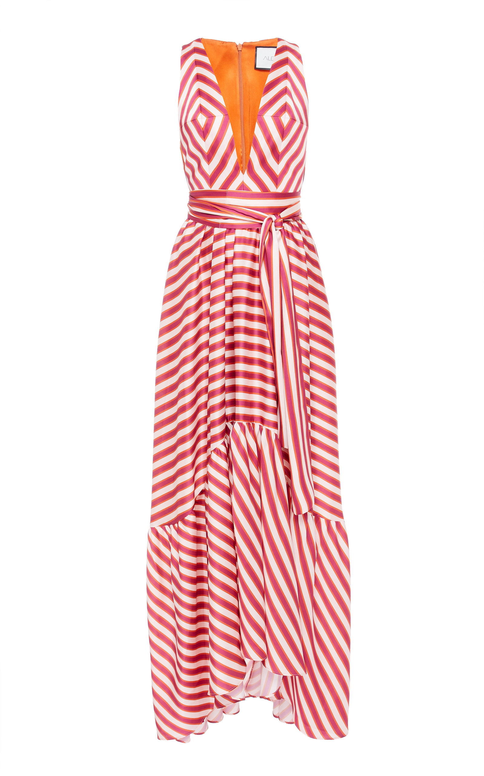 Alexis OKSANA STRIPED SATIN MAXI DRESS