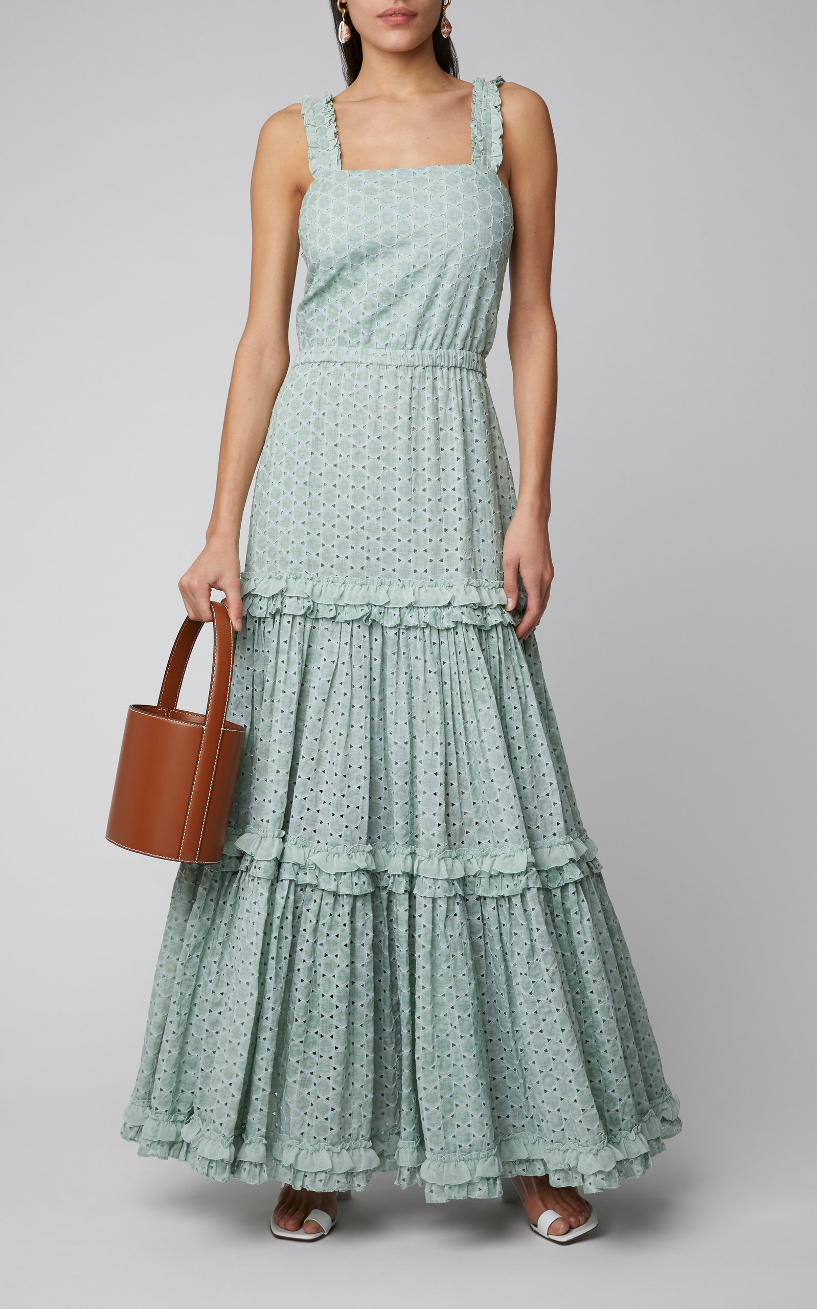1d2a99398850 AlexisMilada Ruffled Broderie Anglaise Cotton Maxi Dress. CLOSE. Loading