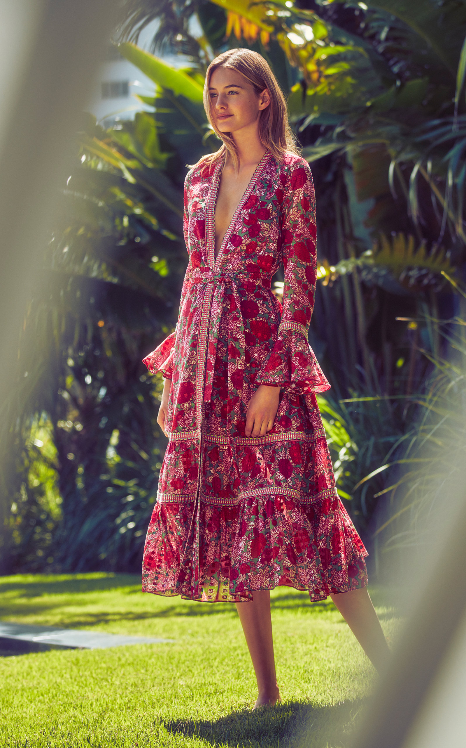 22e90f1ee69 Marcas Tie-Front Floral-Print Voile Midi Dress by Alexis
