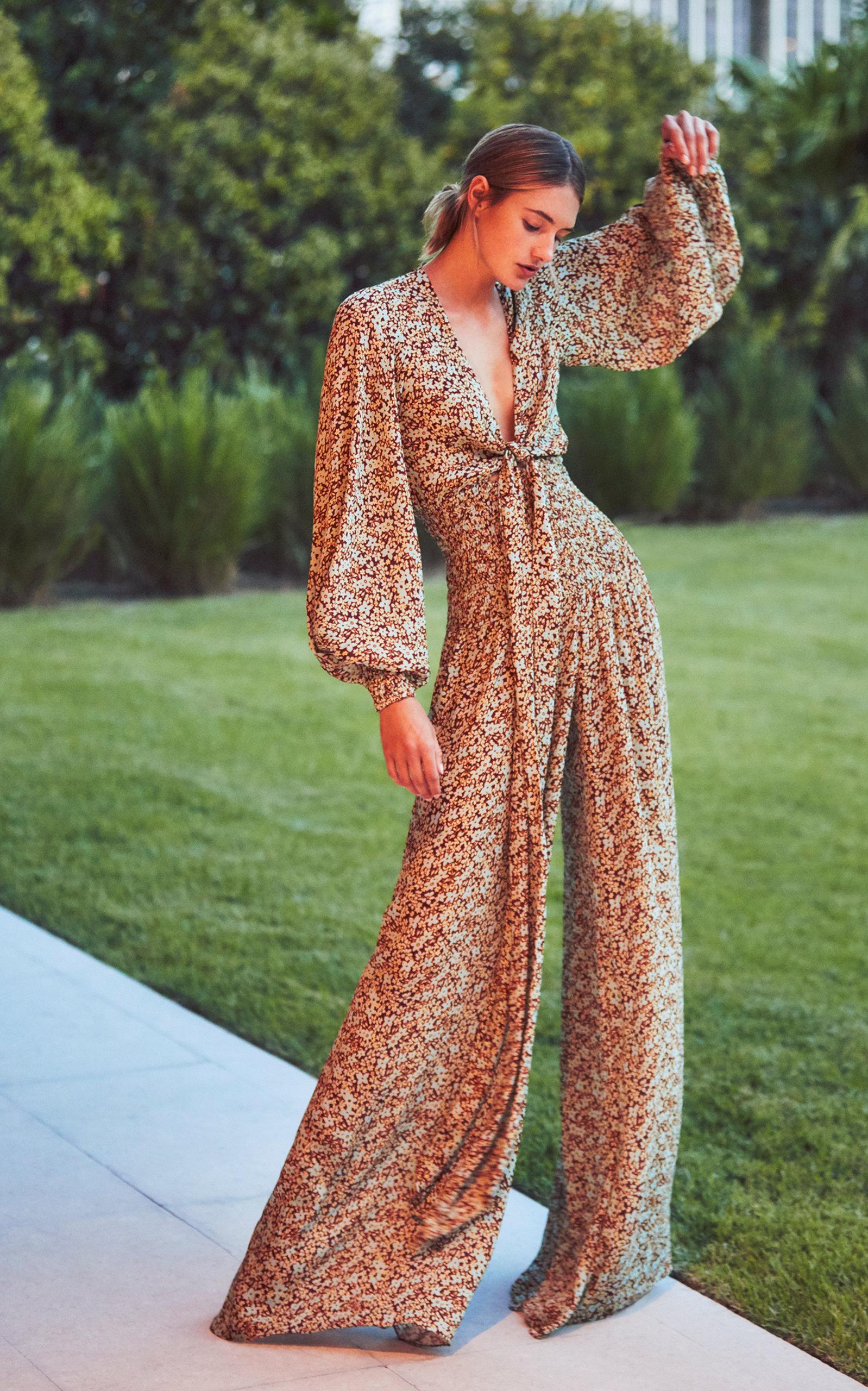 26a71e0bd9 Esperanza Tie-Front Floral-Print Crepe Jumpsuit by Alexis