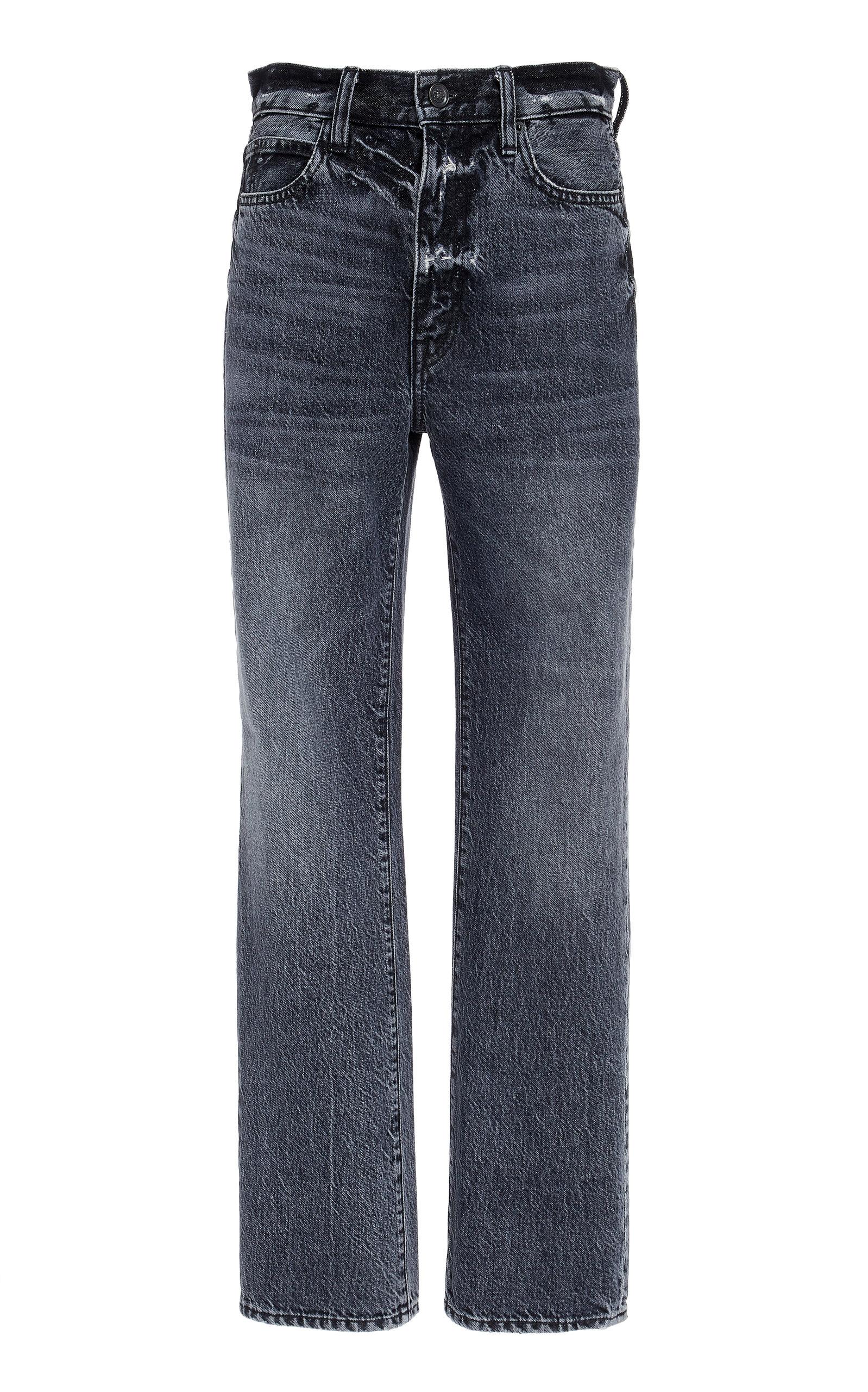 SLVRLAKE DENIM London High-Rise Straight-Leg Jeans in Black