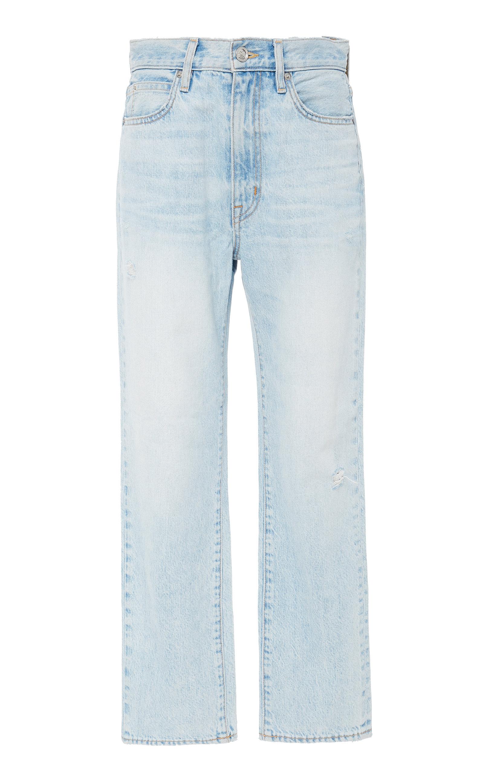 SLVRLAKE DENIM London High-Rise Straight-Leg Cropped Jeans in Light Wash