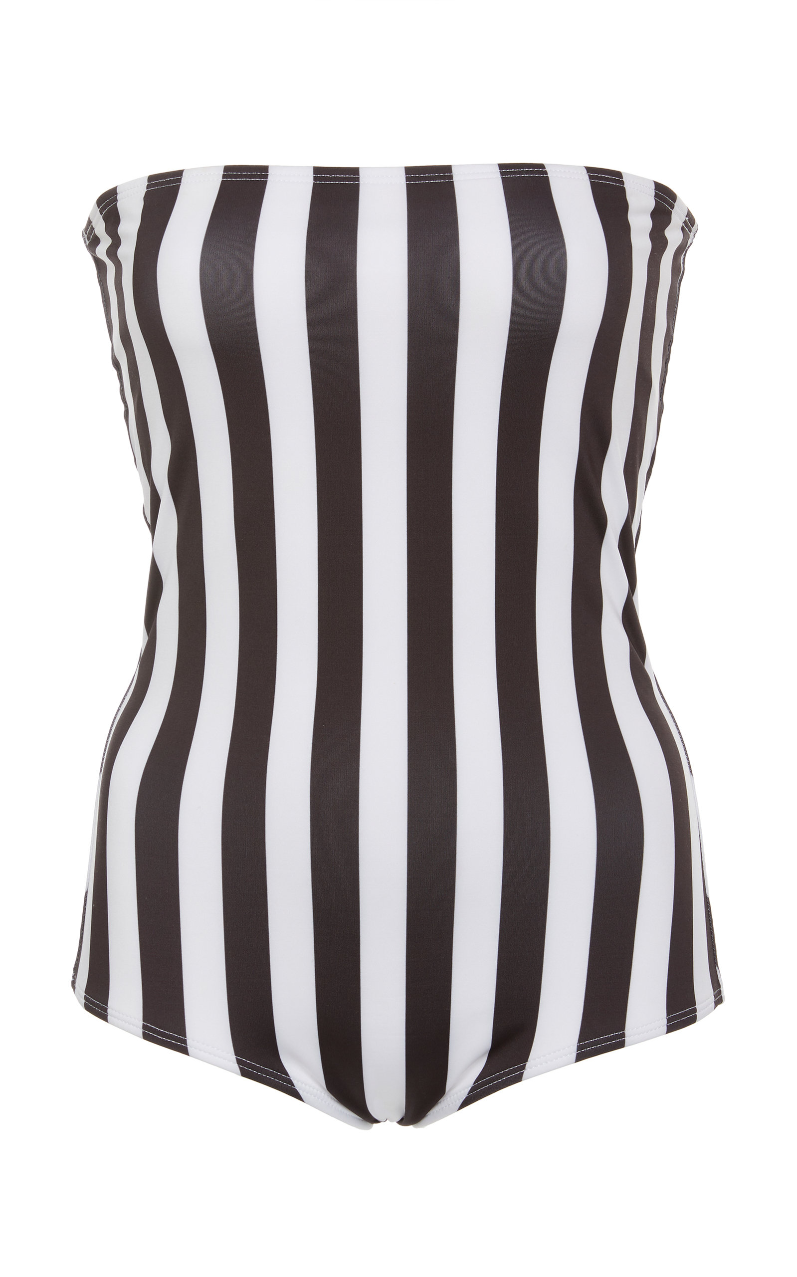 VERDE LIMON Tijuana Strapless One Piece Swimsuit in Black/White