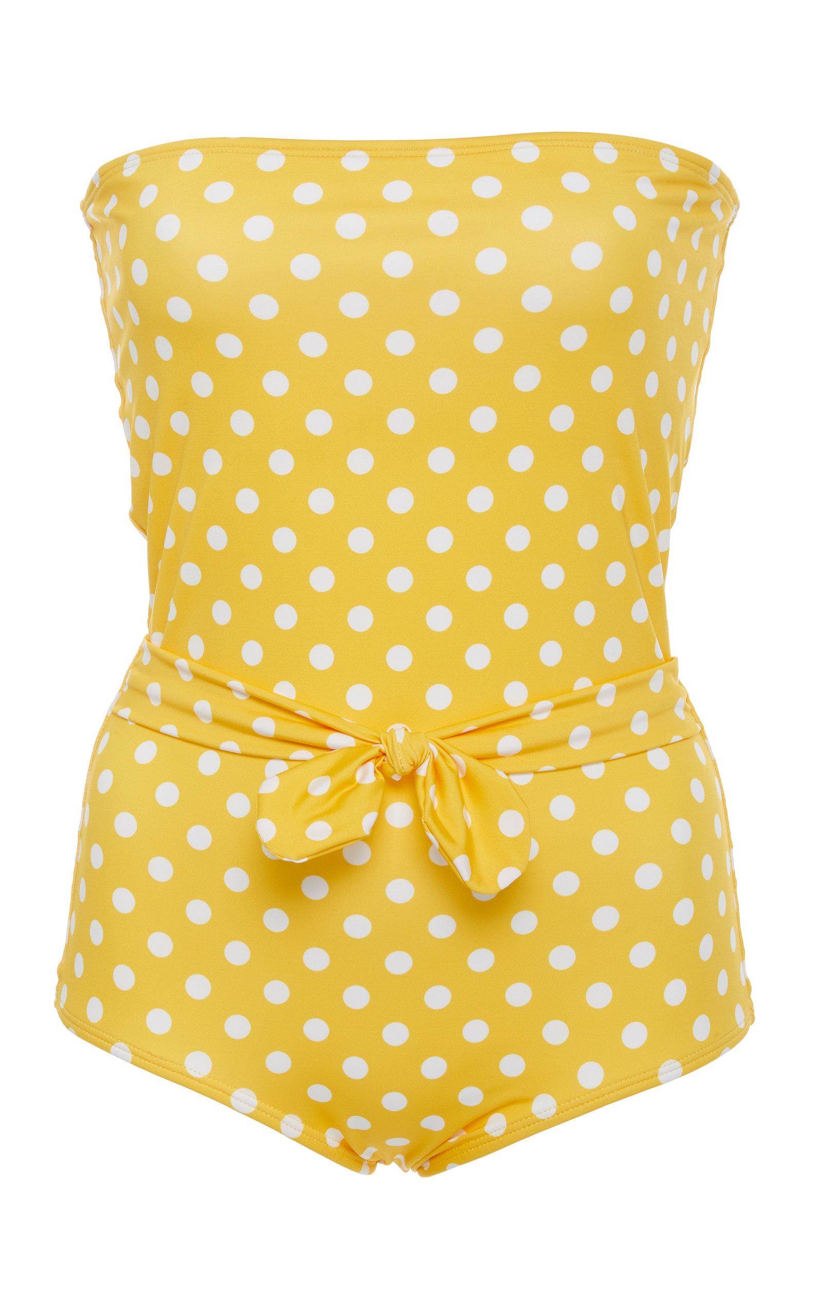 VERDELIMON Porto Strapless One Piece Swimsuit in Yellow