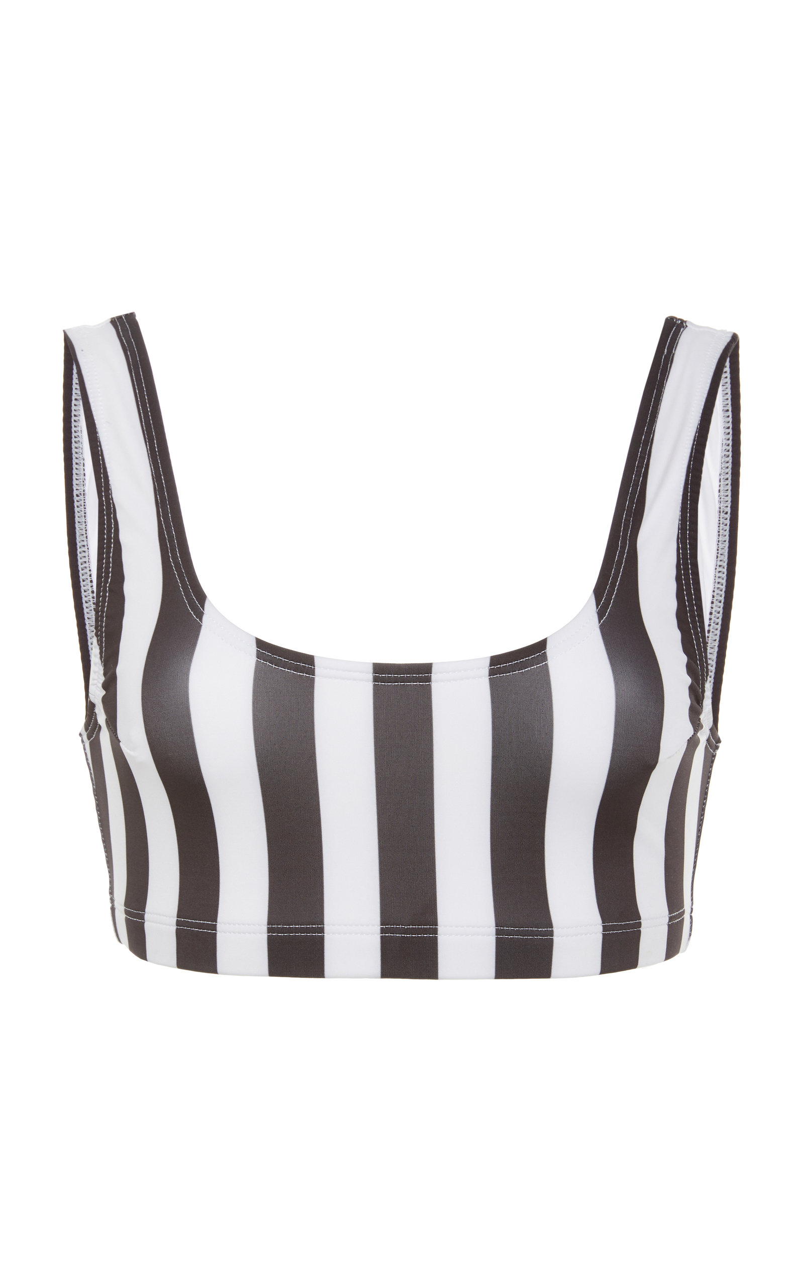 VERDE LIMON Cupertino Scoop Neck Bikini Top in Black/White