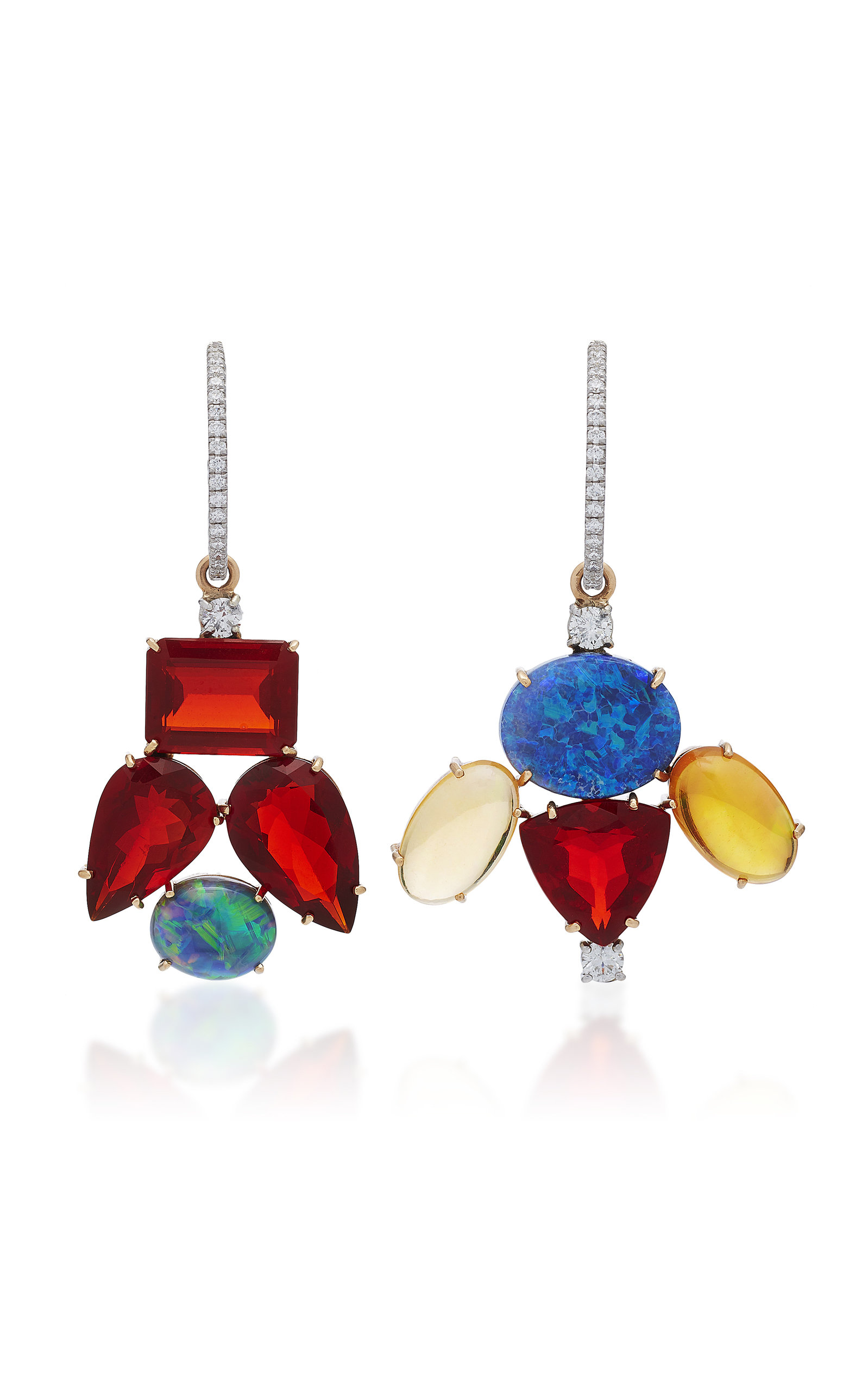 93c82f630 Irene Neuwirth One-Of-A-Kind 18K Gold Fire Opal And Opal Mismatch ...