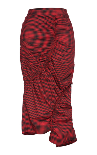 BOURIE | Bourie Rouched Gingham Midi Skirt | Goxip