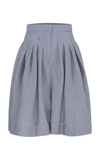 BOURIE | Bourie Pleated Gingham Twill Shorts | Goxip