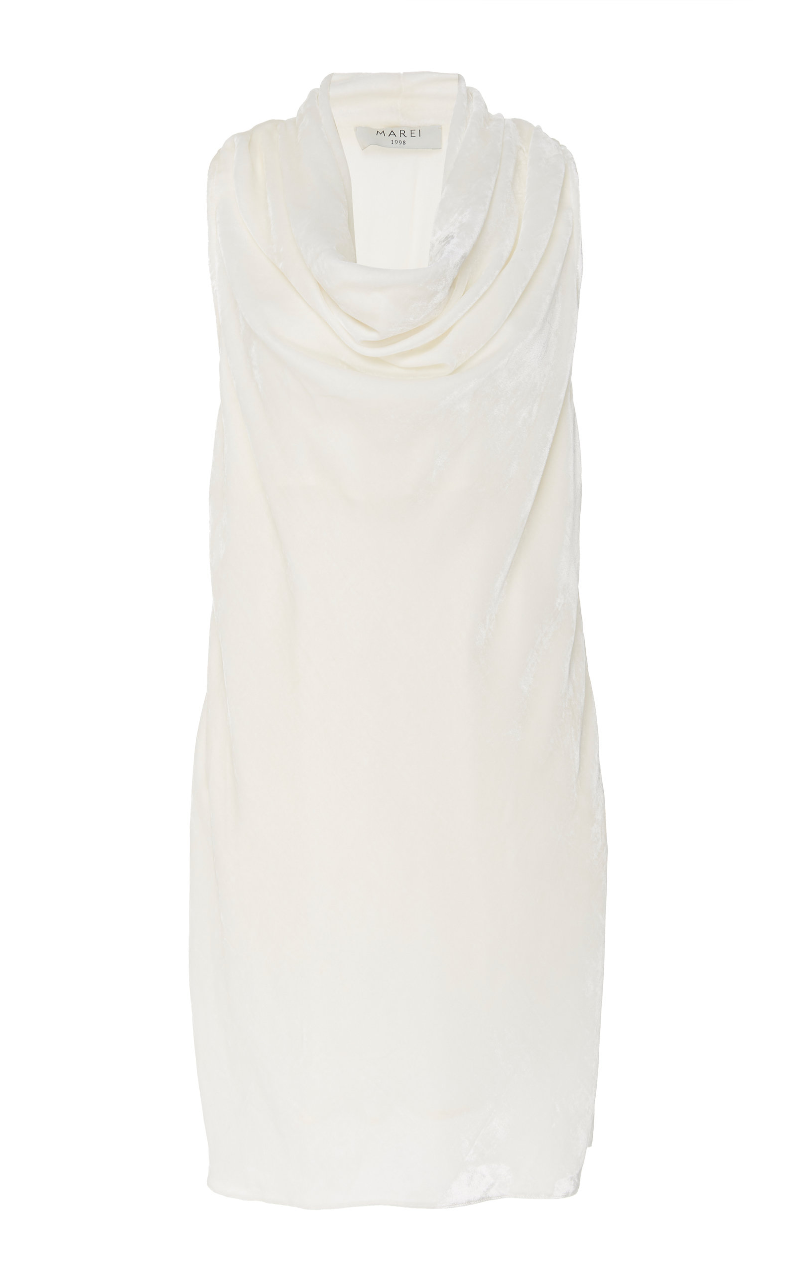 MAREI 1998 Daphne Draped Velvet Mini Dress in White