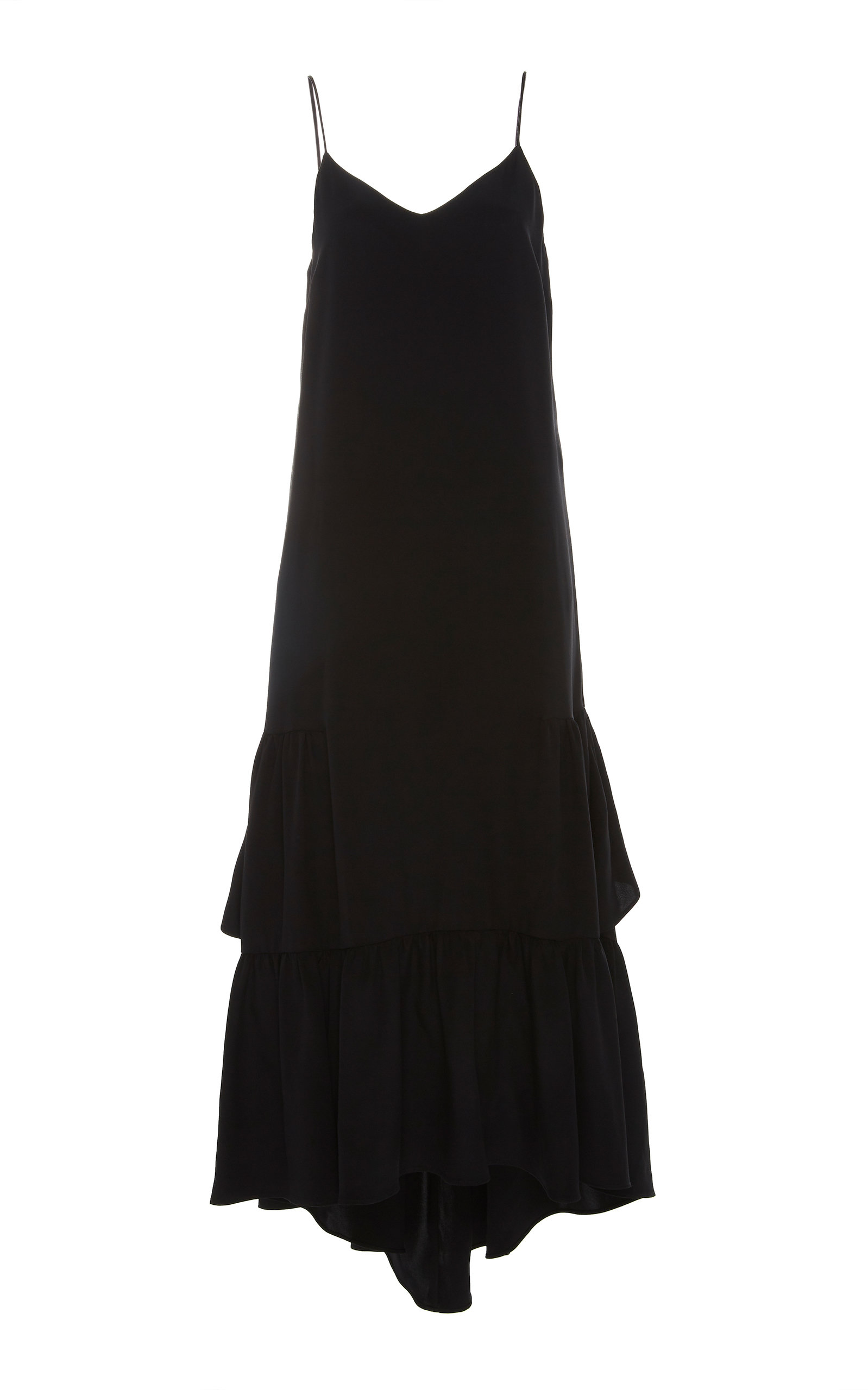 MAREI 1998 Onagraceae Cami Long Dress With Ruffles in Black
