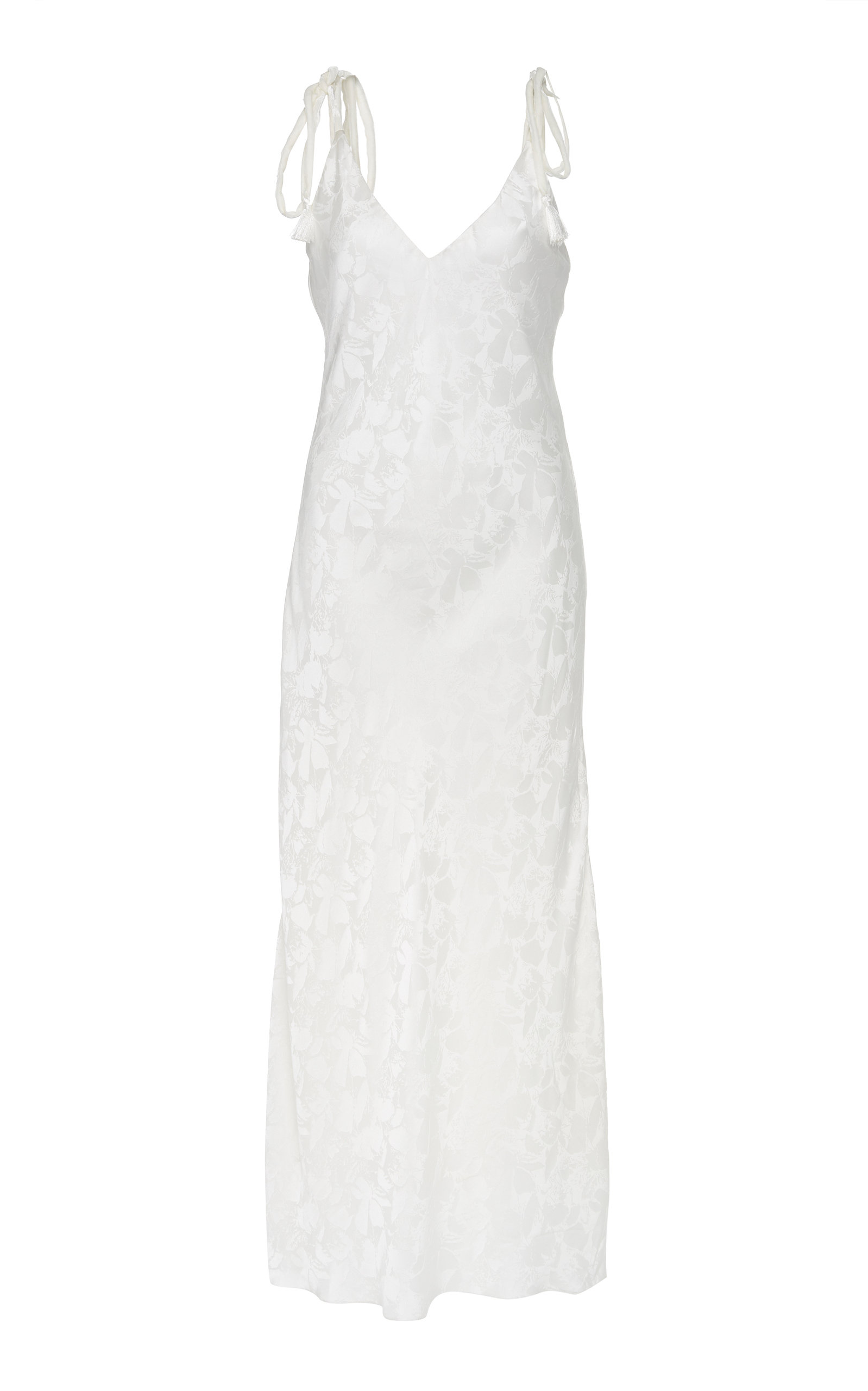 MAREI 1998 Ixia Maxi Long Cami Dress With Velvet Straps in White