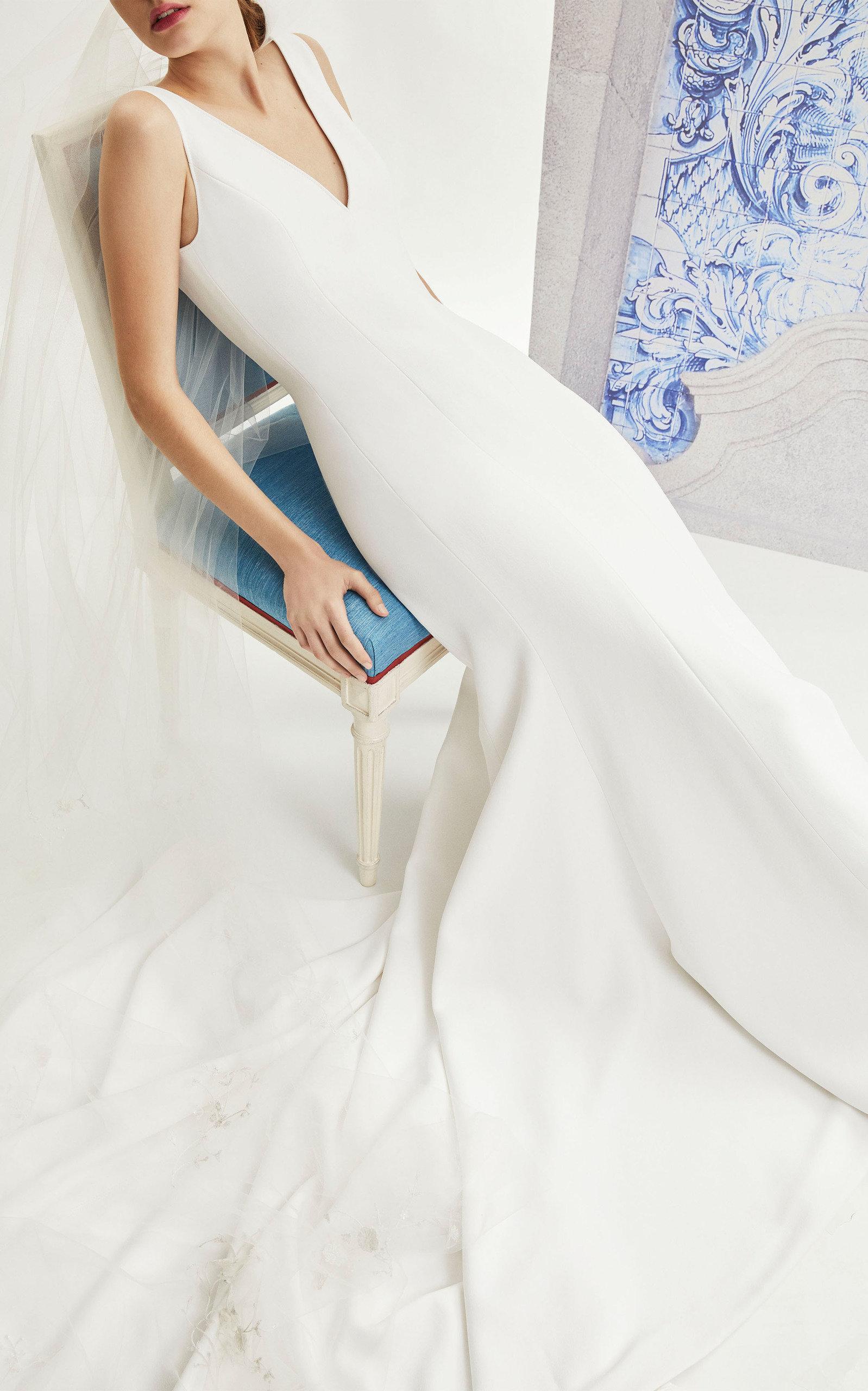 Aubrey Silk Faille Column Gown in White