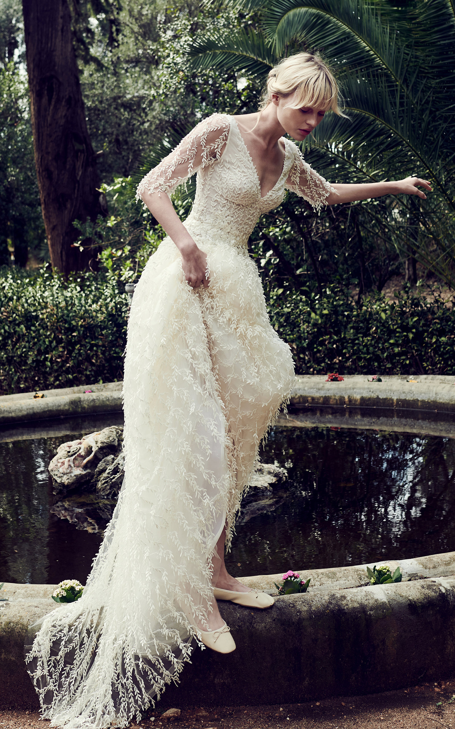 COSTARELLOS BRIDAL Pearl Embroided Twig Tulle Gown in White