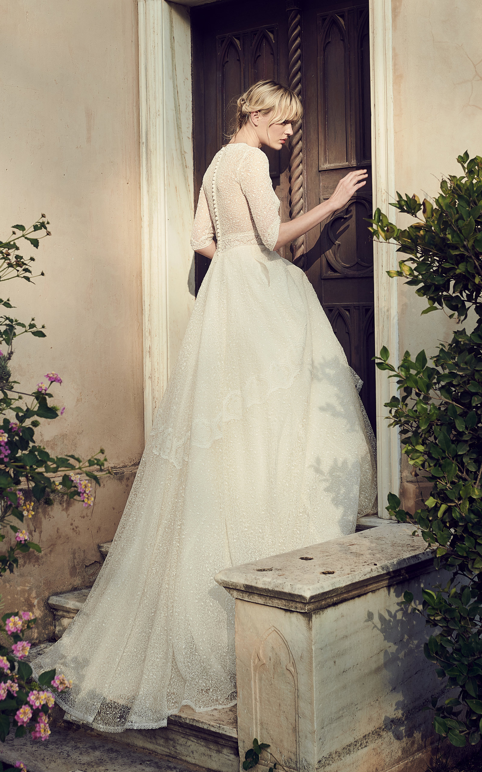 COSTARELLOS BRIDAL Embroidered Tulle V-Neck Gown in White