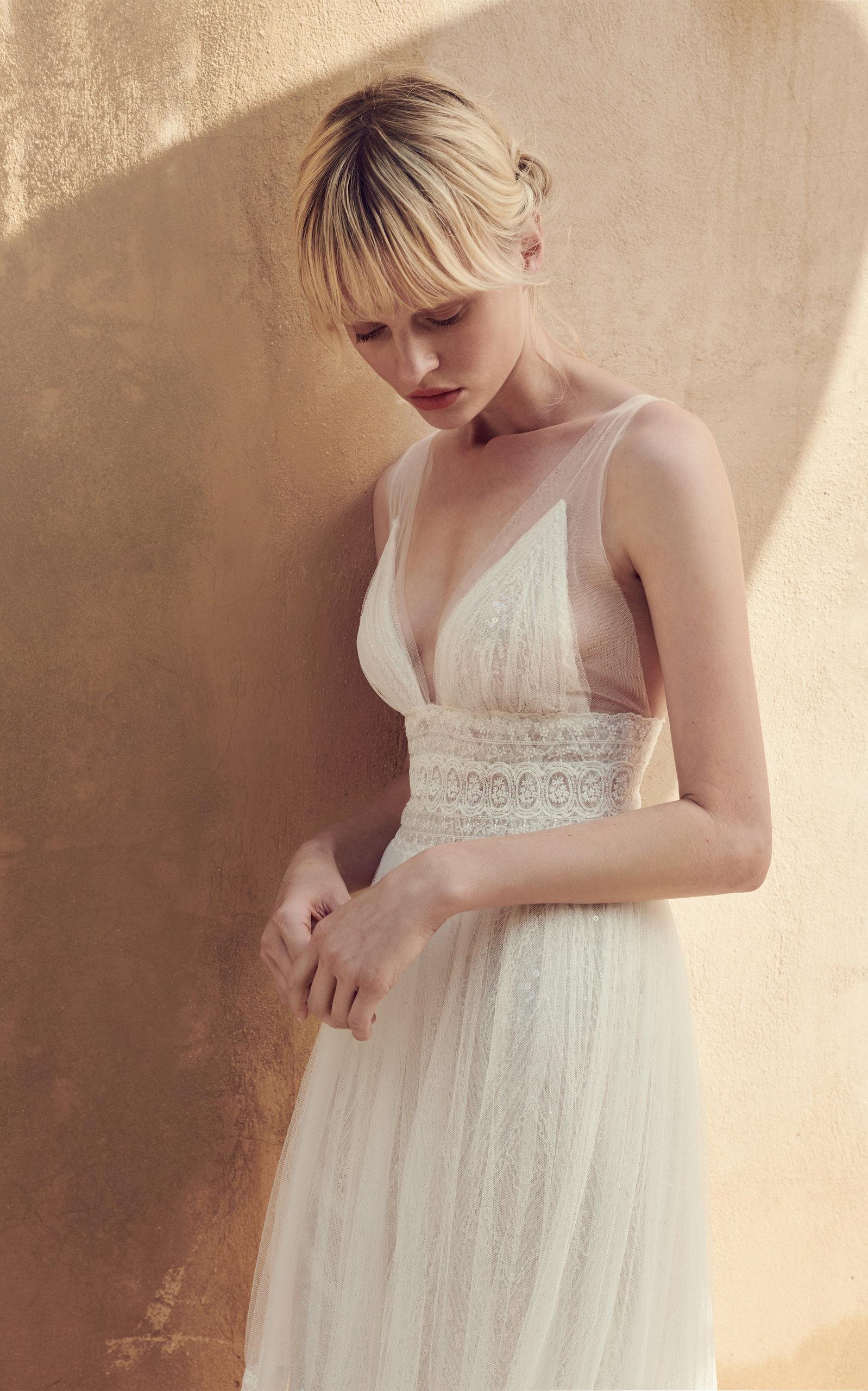 COSTARELLOS BRIDAL V Neck Illusion-Strap Fit And Flare Gown in White