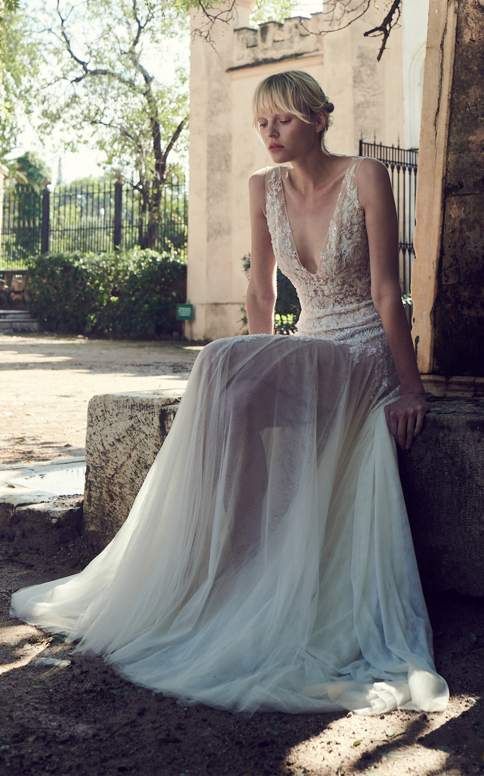 COSTARELLOS BRIDAL Plunging Neck Beaded Chantilly Lace Dress in White