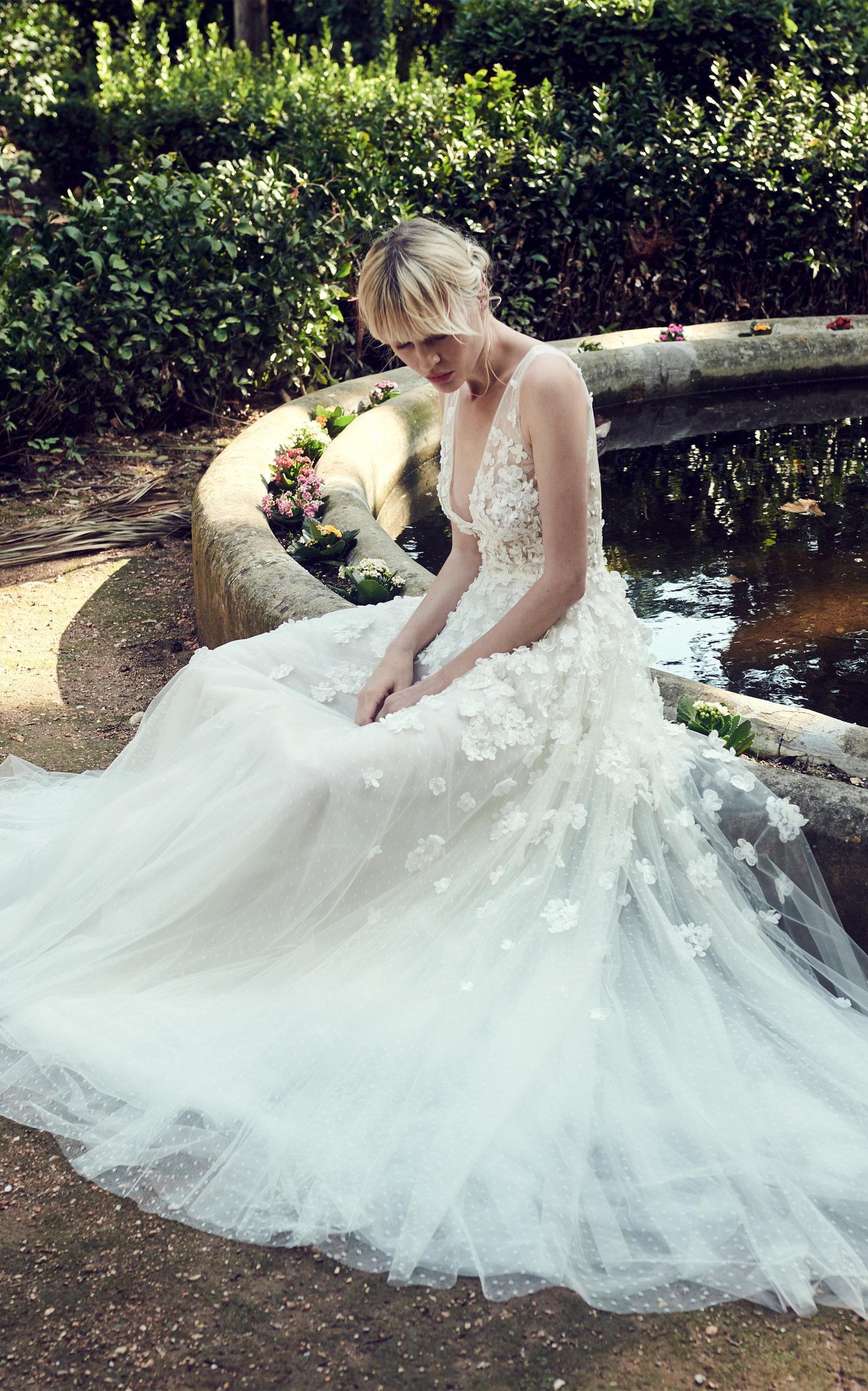 COSTARELLOS BRIDAL Sleeveless V Neck Romantic Gown in White