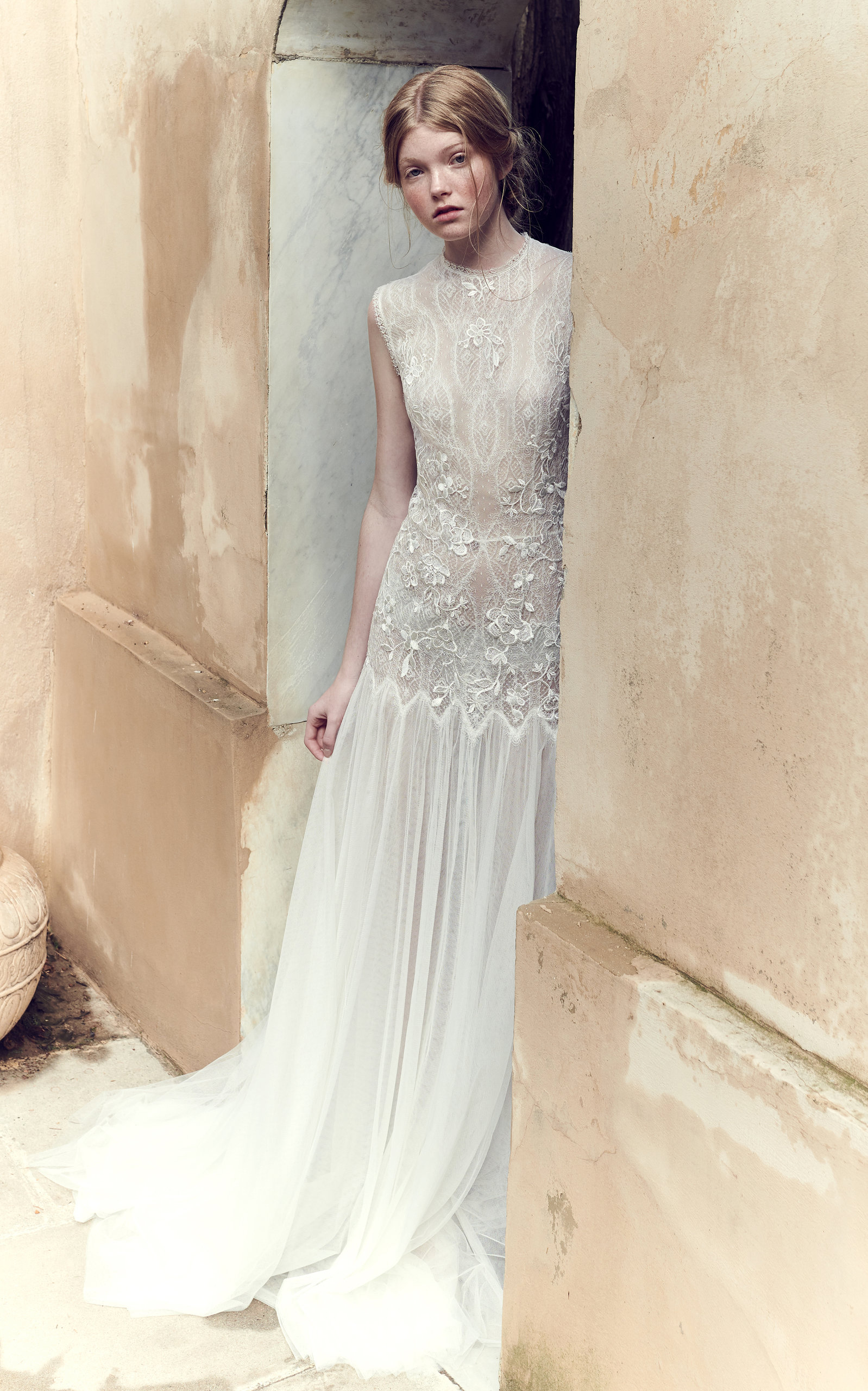 COSTARELLOS BRIDAL Low-Waist Mesh Lace Bodice And Tulle Gown in White
