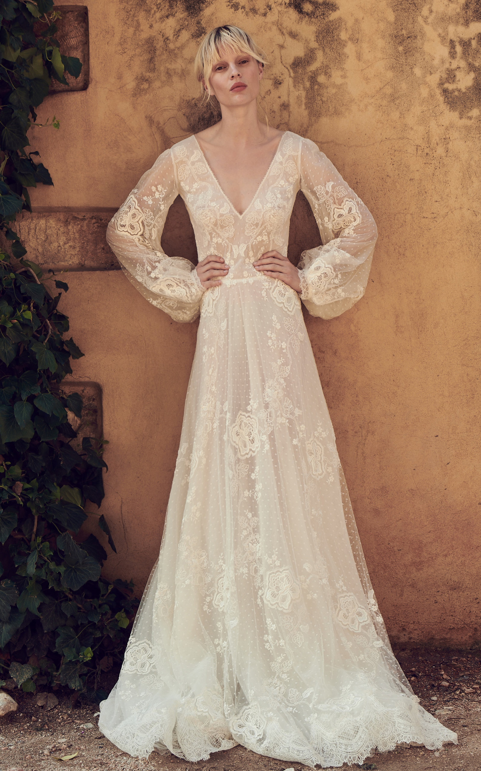 COSTARELLOS BRIDAL Embroidered Lace Ethereal Gown in White