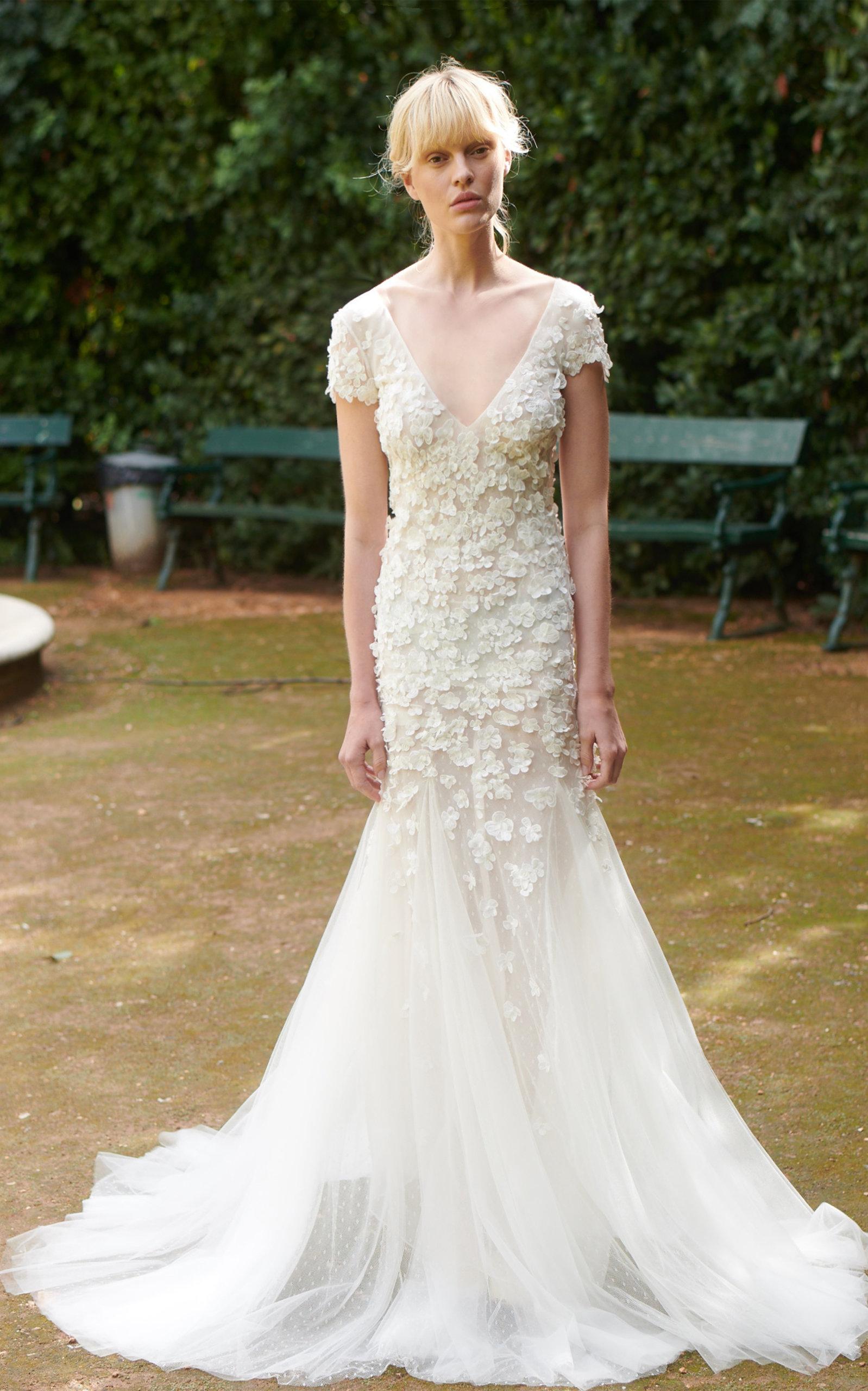 COSTARELLOS BRIDAL V Neckline Flower Embellished Mermaid Gown in White