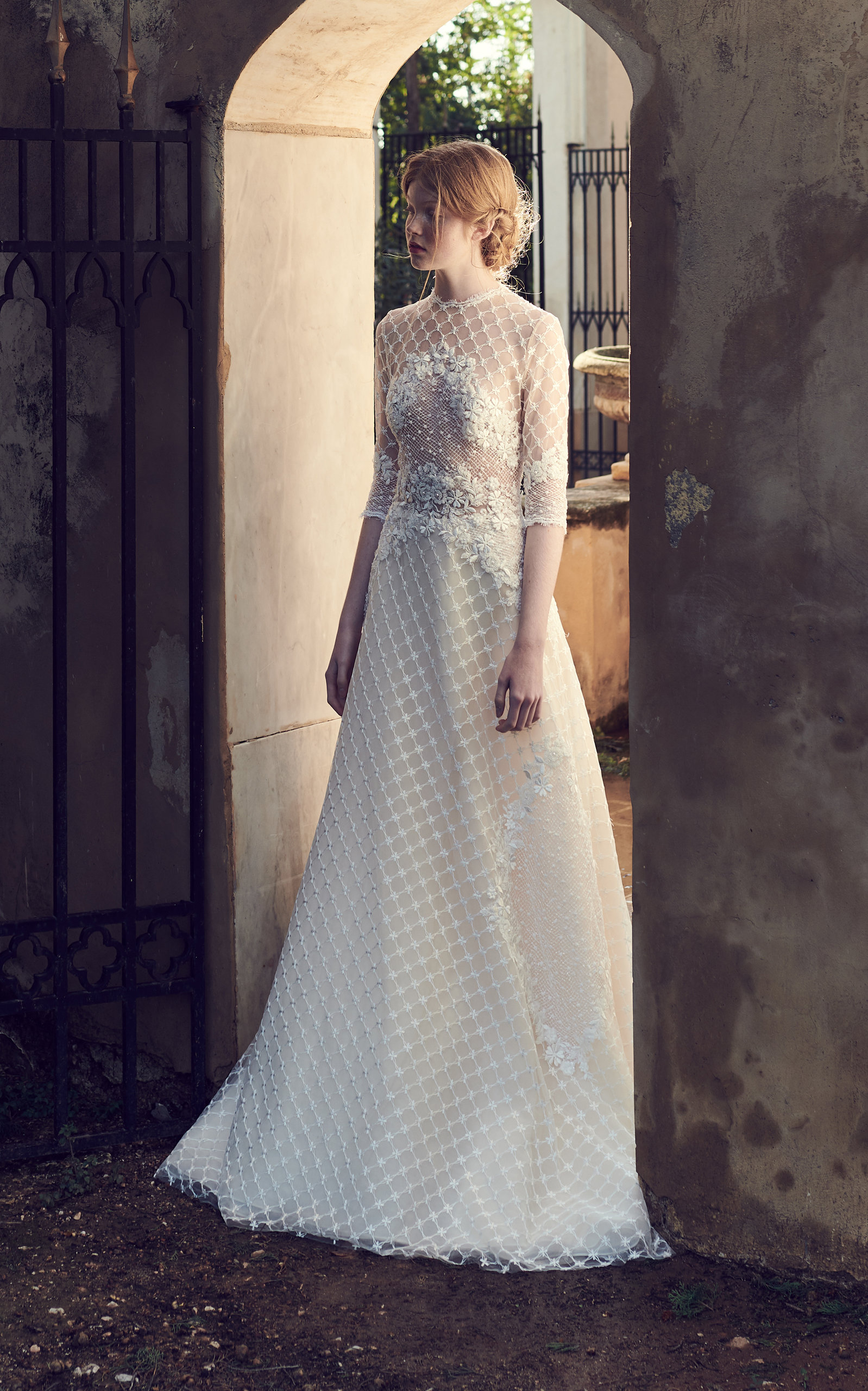 COSTARELLOS BRIDAL Geometric Embroidered Tulle Gown in White