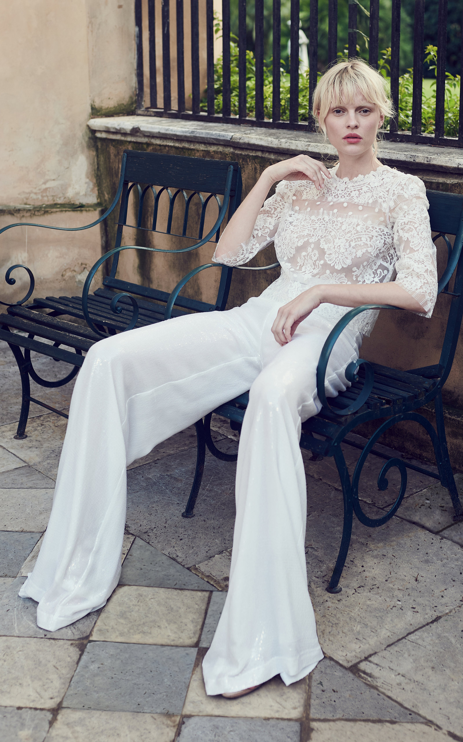 COSTARELLOS BRIDAL Chantilly Lace Cropped Top in White