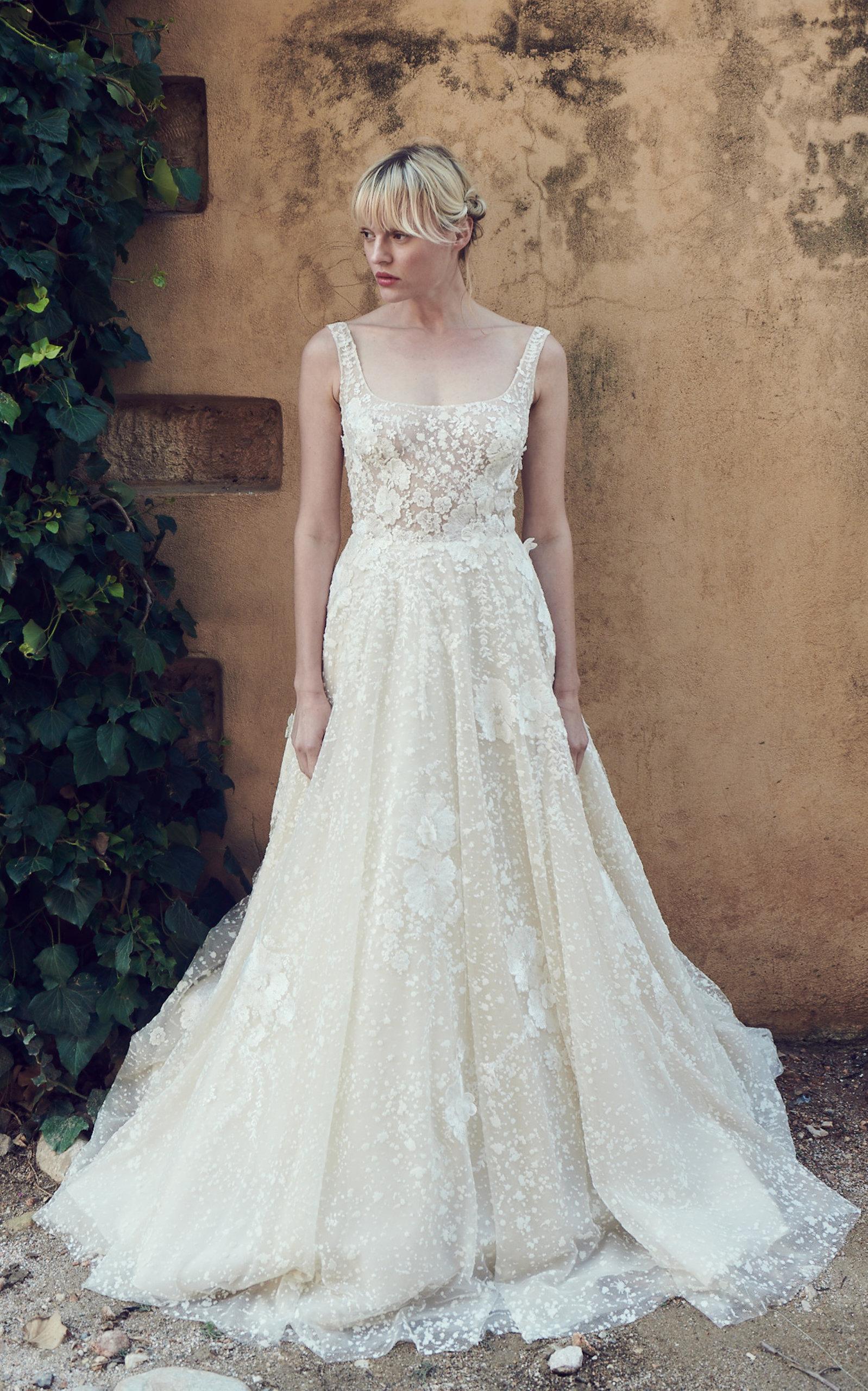 COSTARELLOS BRIDAL Tulle Ballerina Bodice Peplum Gown in White
