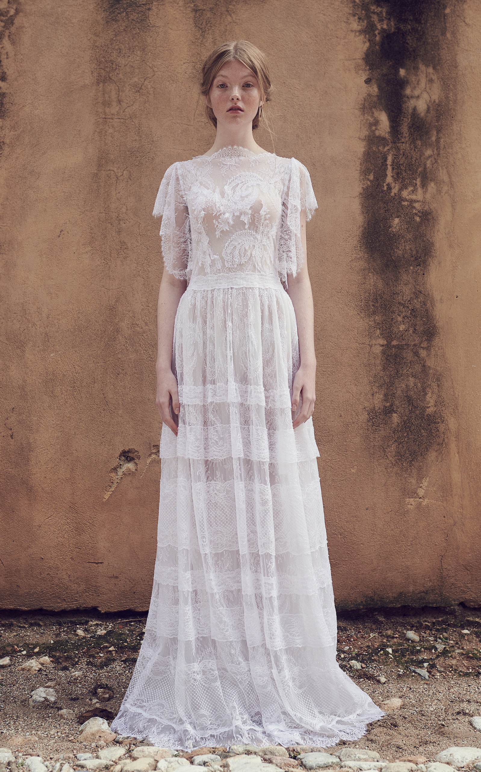 COSTARELLOS BRIDAL Neoromantic Angel Sleeve Tiered Tulle Dress in White