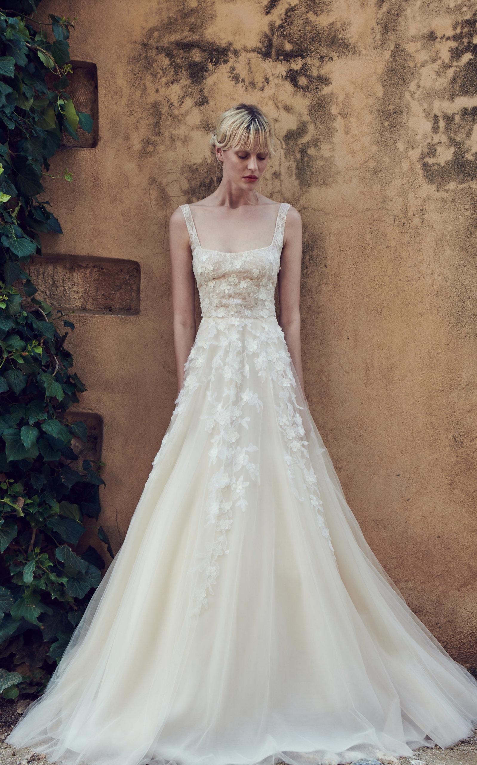 COSTARELLOS BRIDAL Square Neck Tulle Gown in White