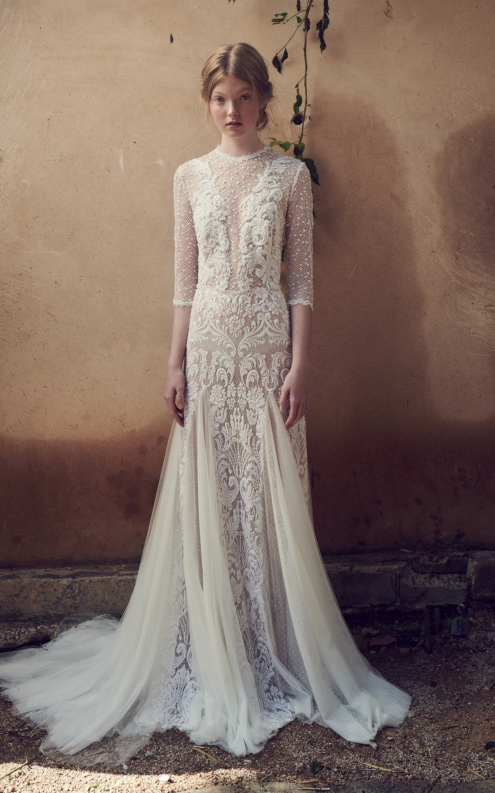 COSTARELLOS BRIDAL Mesh Bodice Edging Embroidered Tulle Long Godet Dress in White