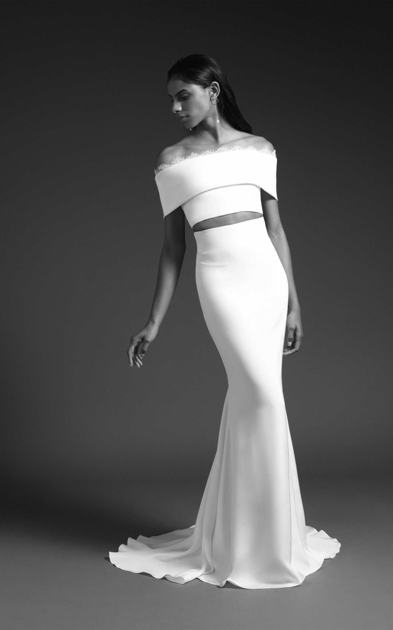 1a5e1432fc94bb Grace Off Shoulder Crop Top With Lace Trim by Cushnie Bridal