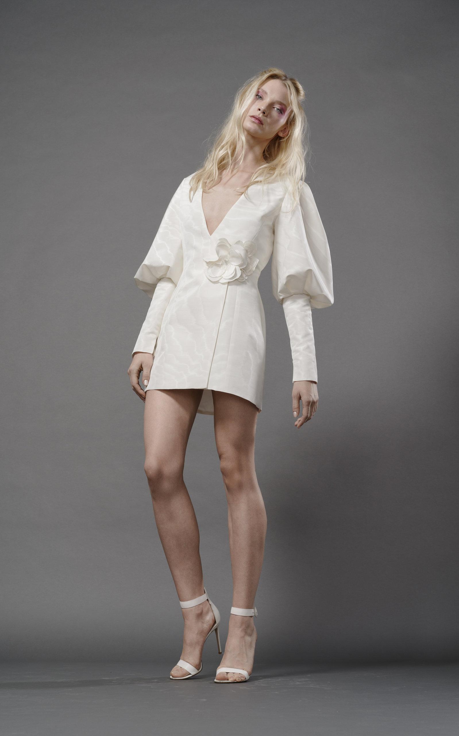 ELIZABETH FILLMORE Nico Silk Tuxedo Dress With Lantern Sleeve in Ivory
