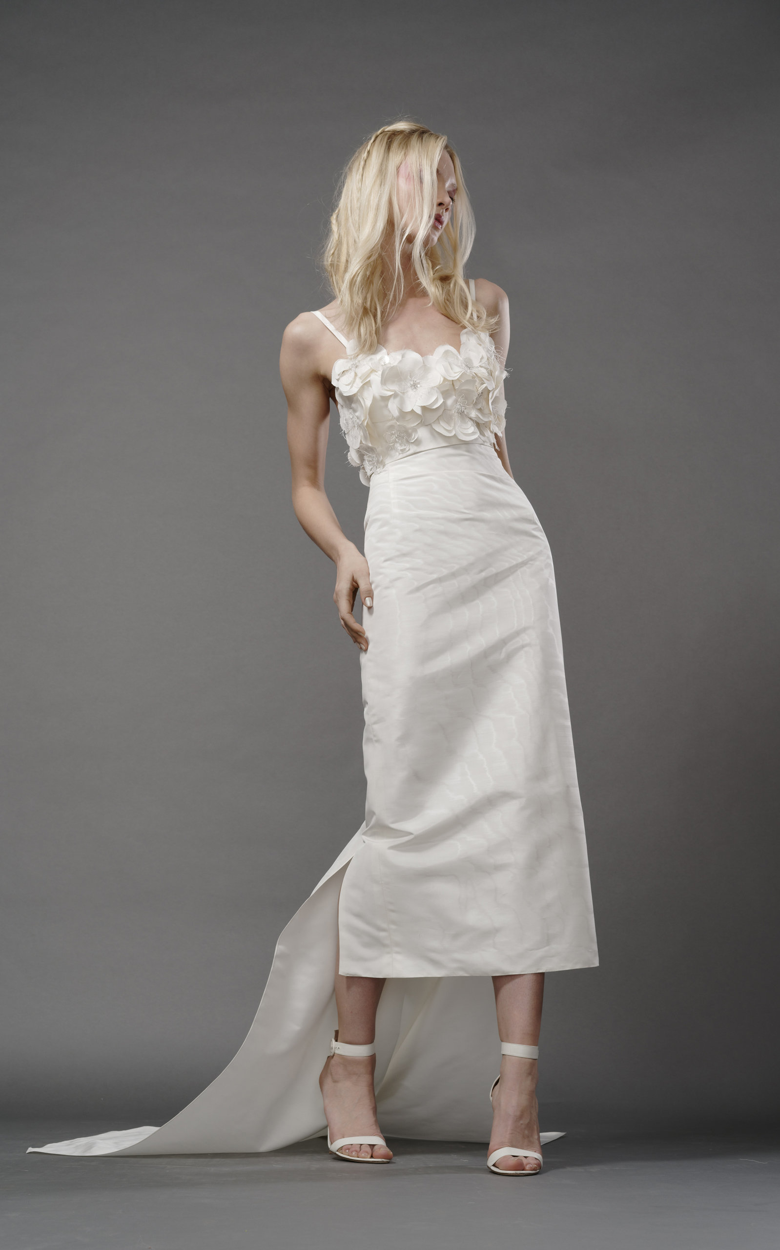 ELIZABETH FILLMORE Poppy Silk Column Gown With Floral Bodice in Ivory