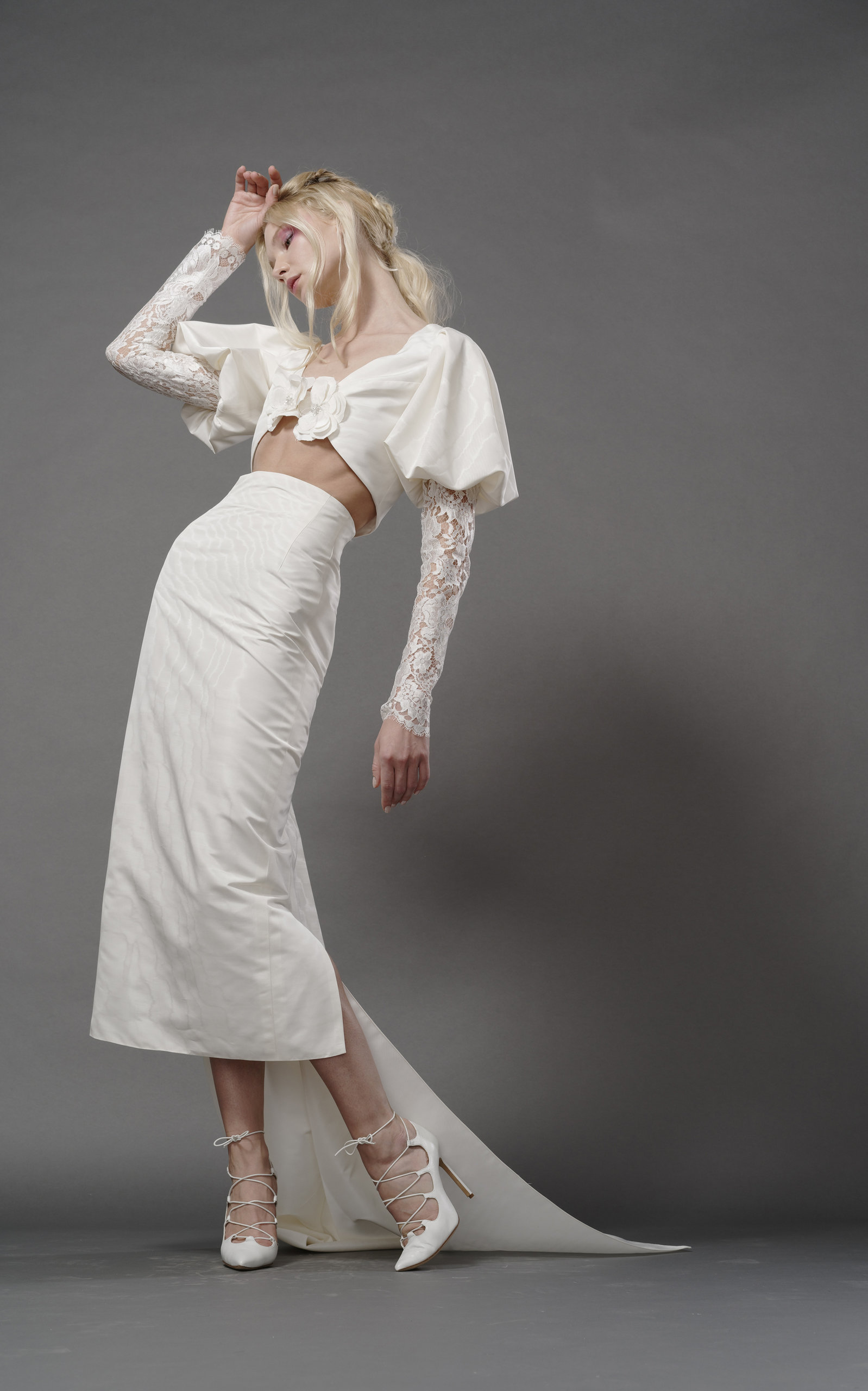 ELIZABETH FILLMORE Baudelaire Midriff Silk Jacket in Ivory