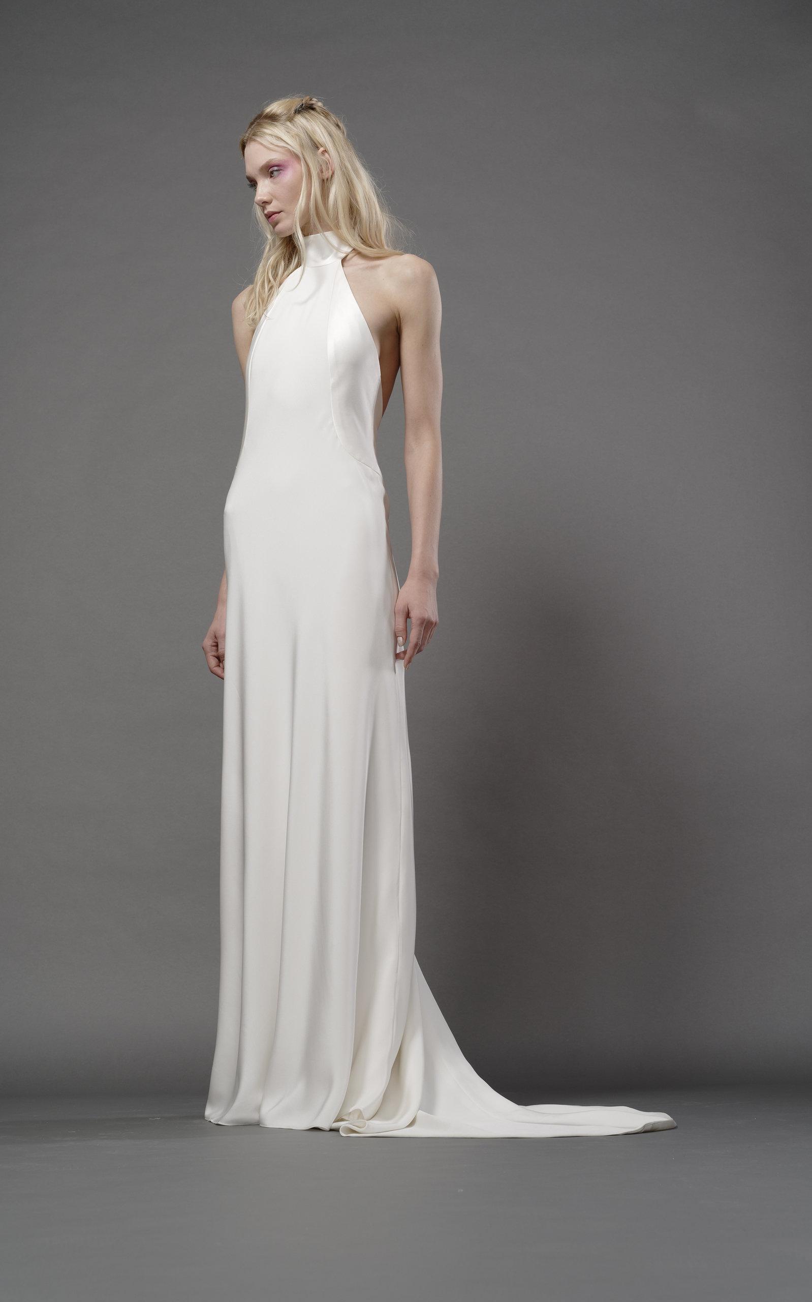 ELIZABETH FILLMORE Stella Silk Halter Gown in Ivory