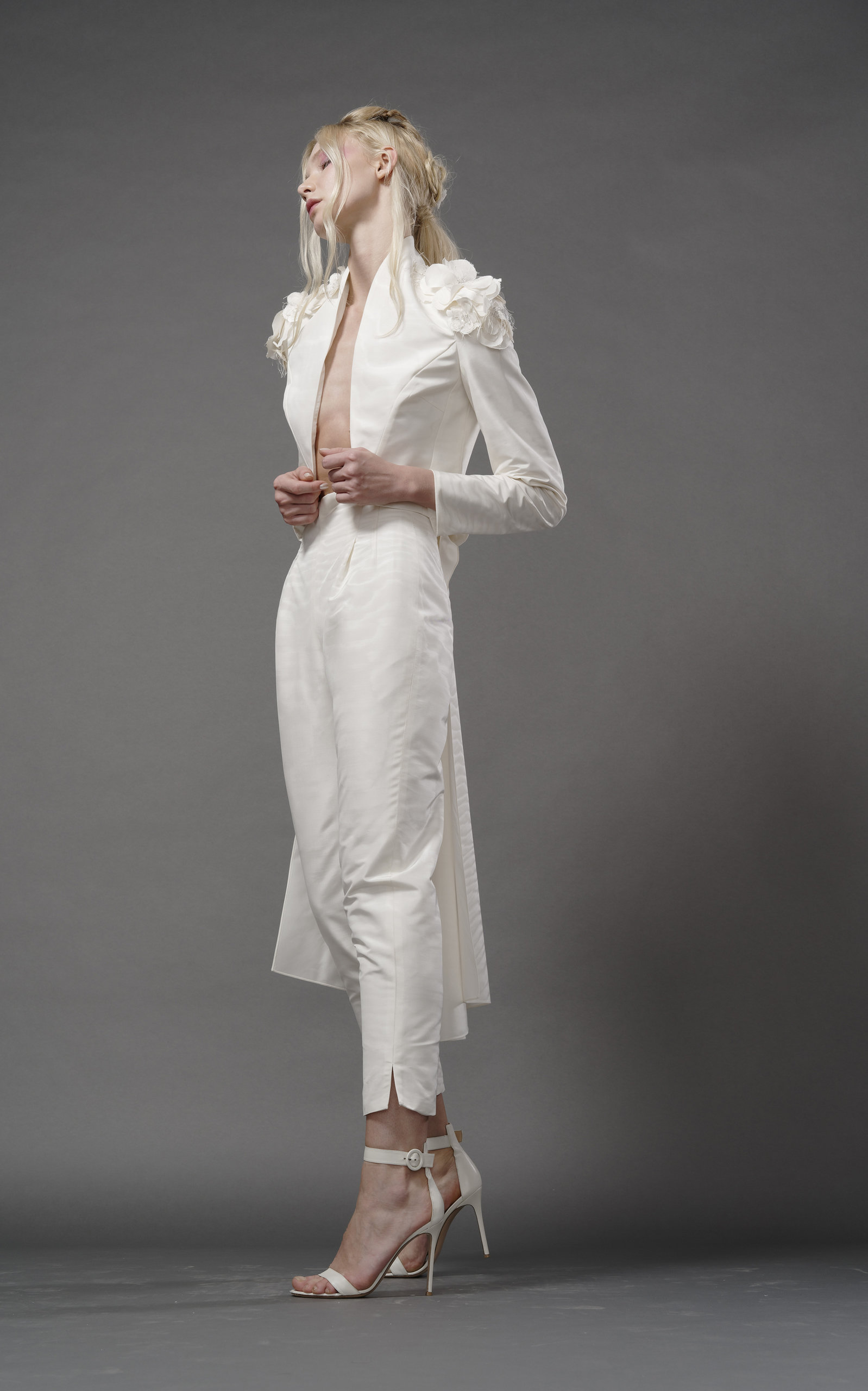 ELIZABETH FILLMORE Bowie Silk Tail Jacket With Shoulder Embroidery in Ivory