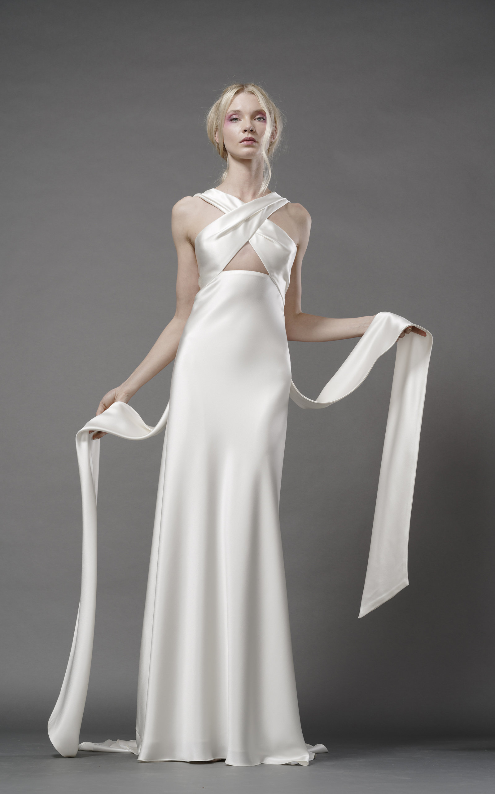ELIZABETH FILLMORE Harlow Silk Bias Gown With Banded Wrap Bodice in Ivory