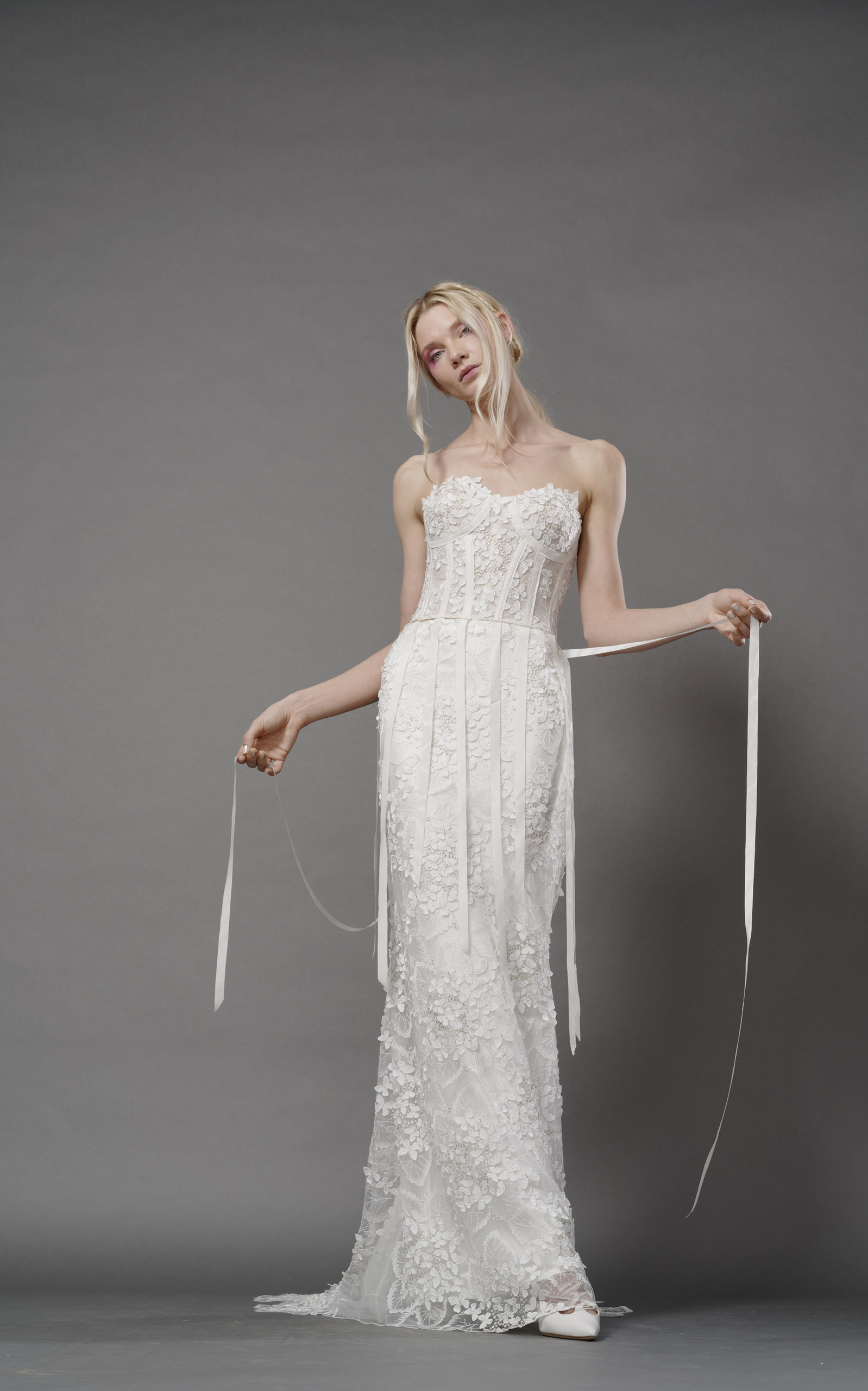 ELIZABETH FILLMORE Claudette Gown With Ribbon Corset And Mermaid Skirt in Ivory