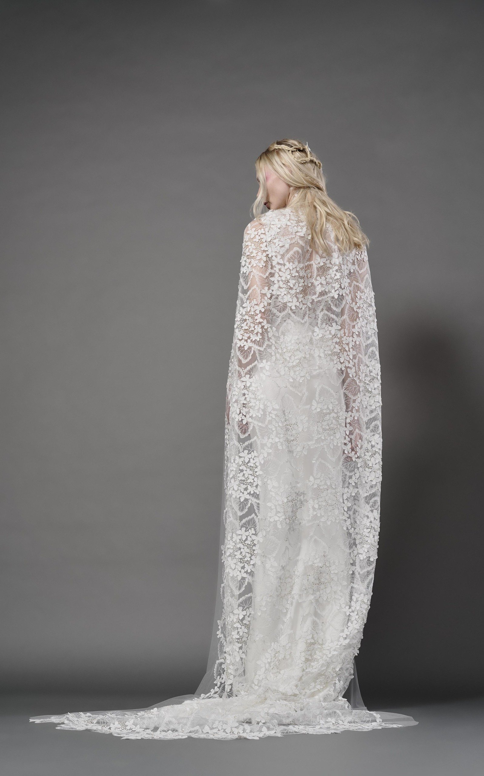 ELIZABETH FILLMORE Ophelia Butterfly Tulle Cathedral Length Cape in Ivory