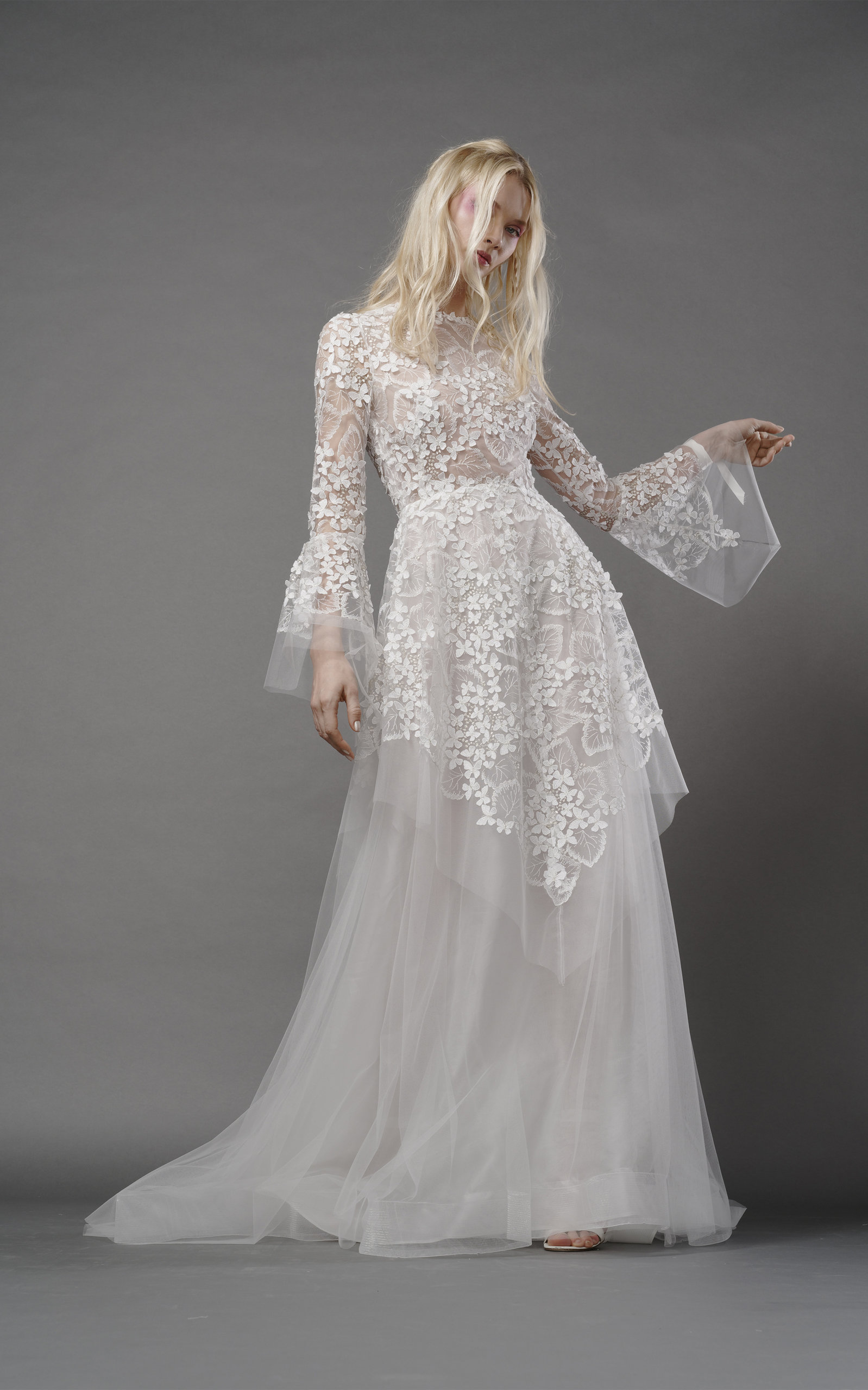 ELIZABETH FILLMORE Ophelia Fairy Gown With Tulle Overlay in Ivory