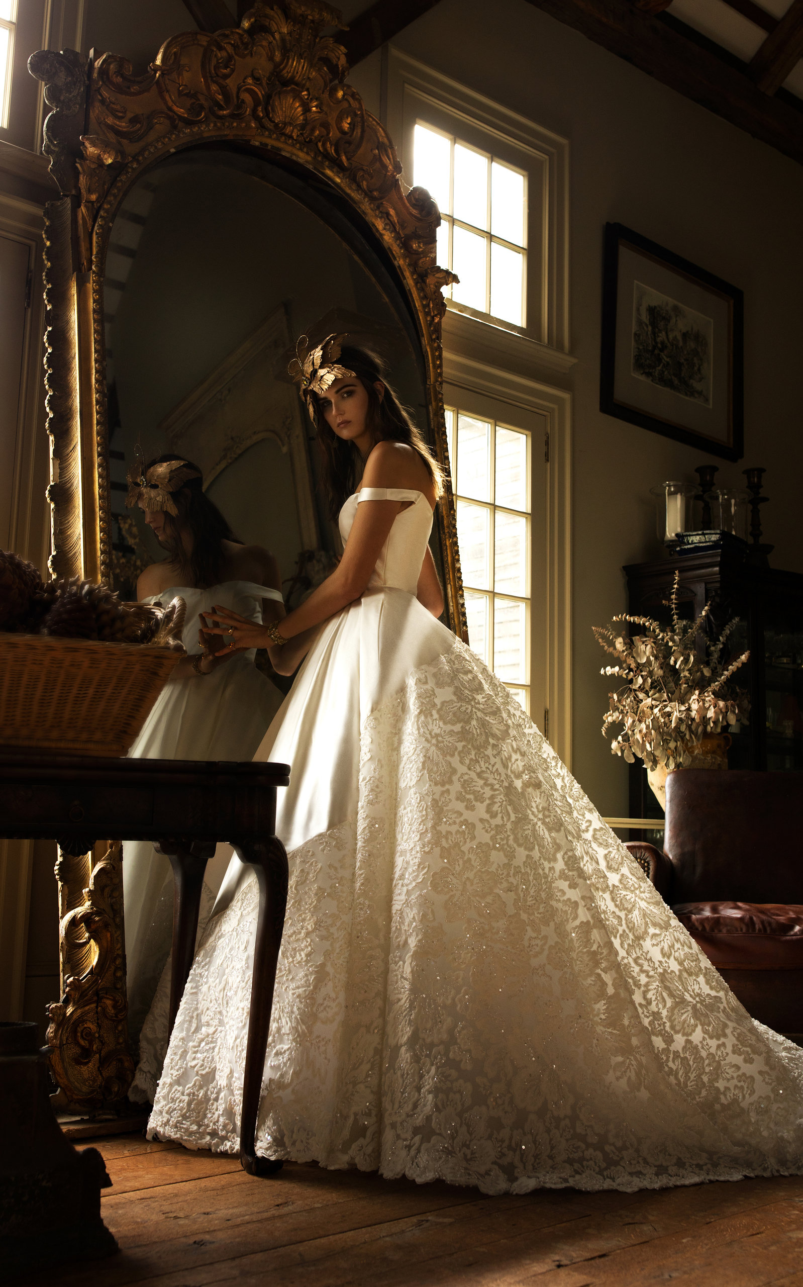 ISABELLE ARMSTRONG Beatrice Off Shoulder Ball Gown With Dramatic Embroidered Skirt in White