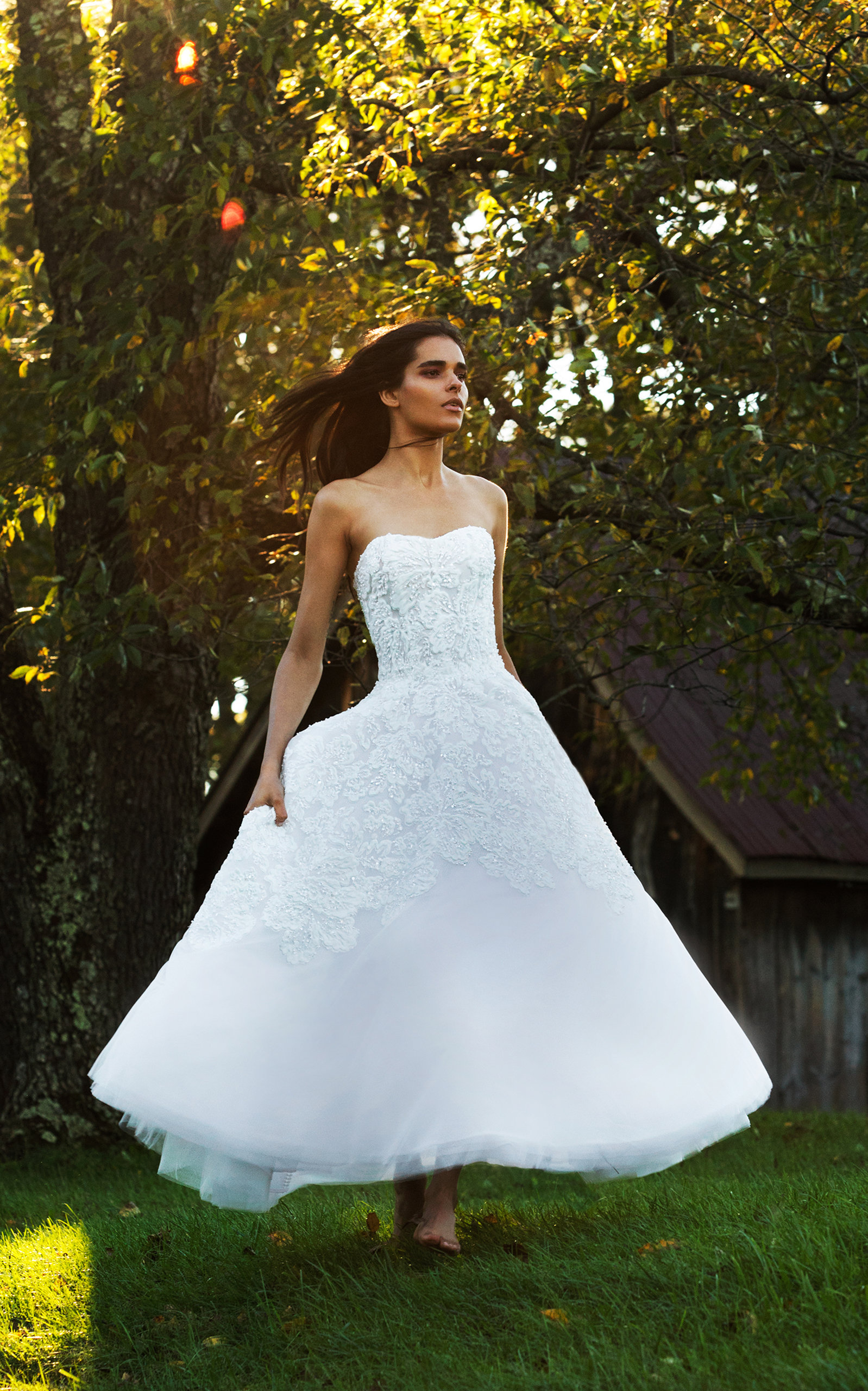 ISABELLE ARMSTRONG Cleo Tea Length Tulle Ball Gown in White