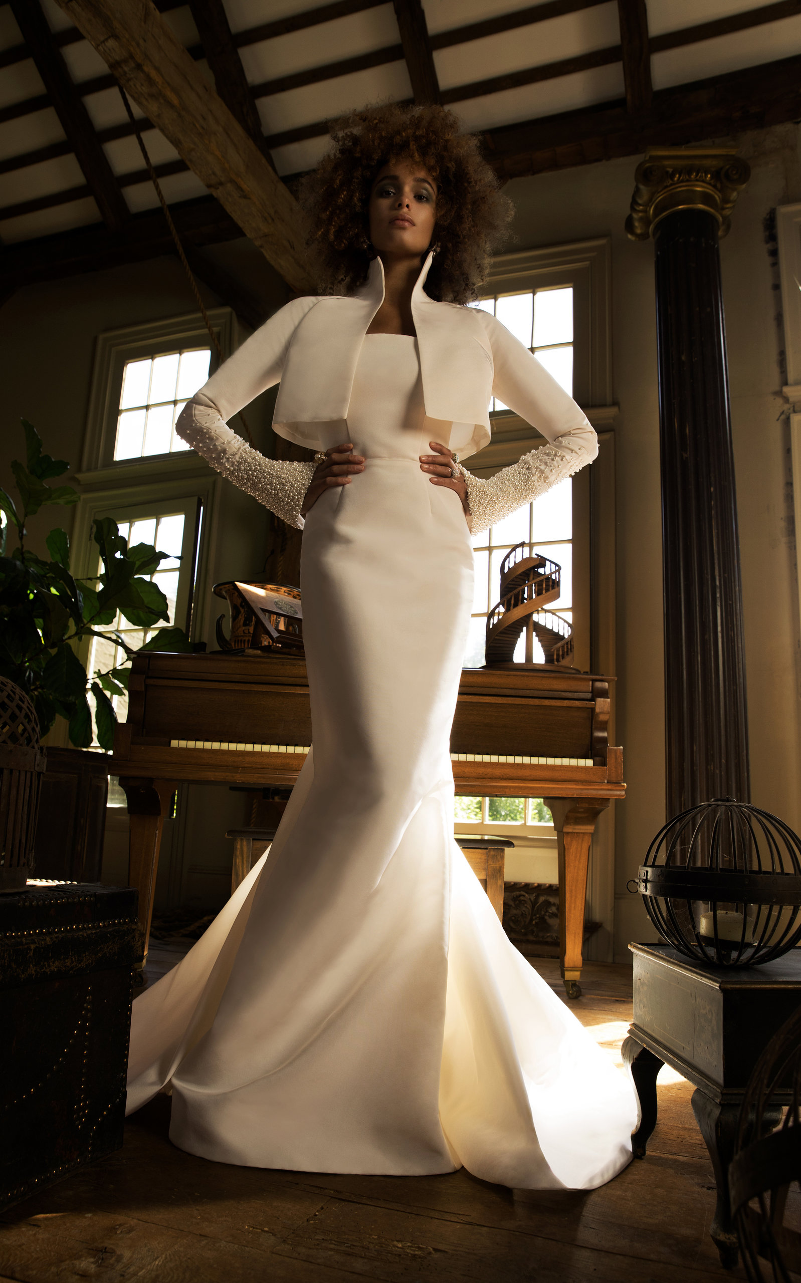 ISABELLE ARMSTRONG Diana Silk Faille Gown in White