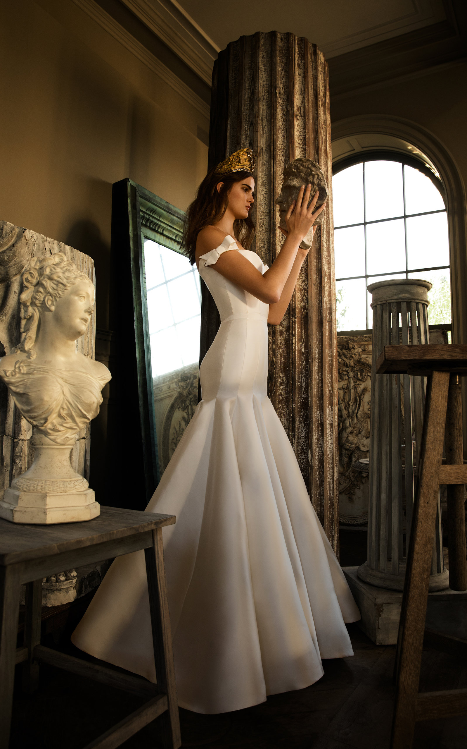 ISABELLE ARMSTRONG Evelyn Silk Off Shoulder Mikado Gown in White