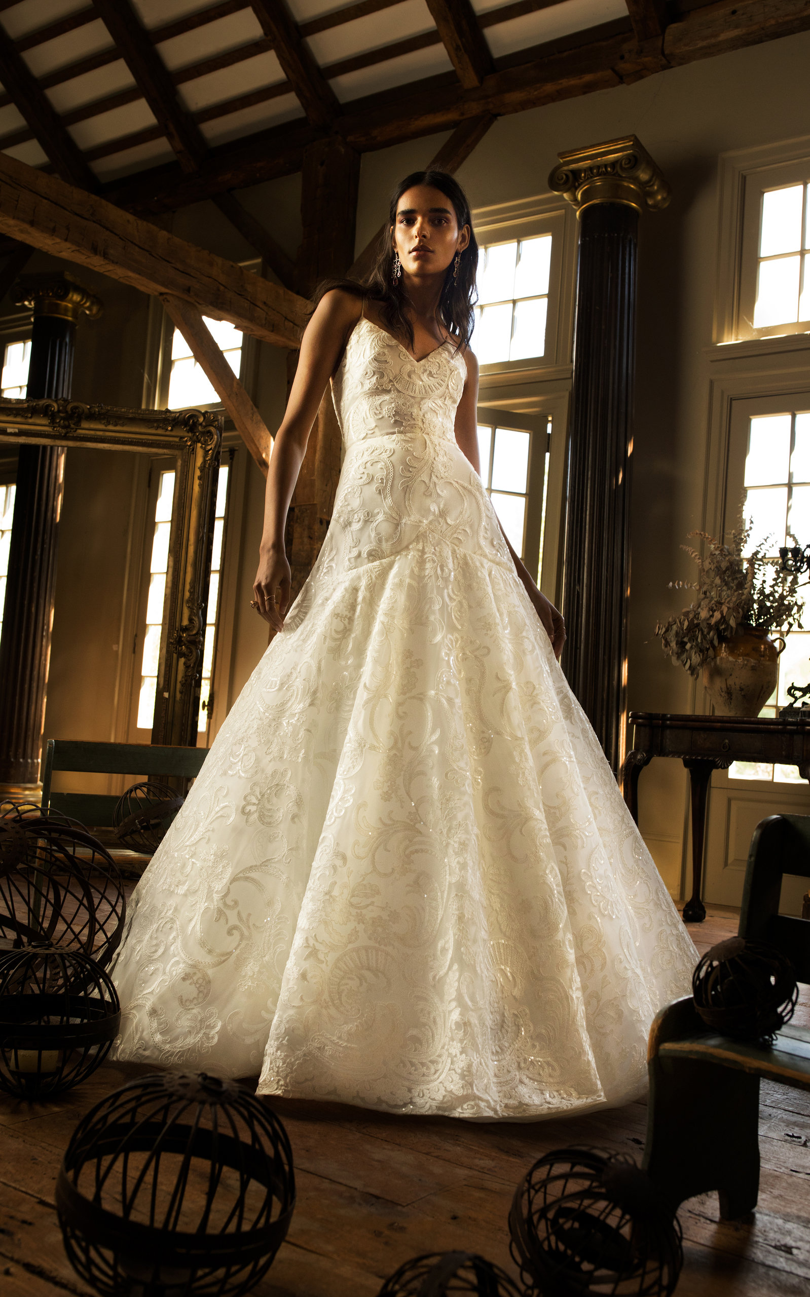 ISABELLE ARMSTRONG Letizia Lace Embroidered Ball Gown in White