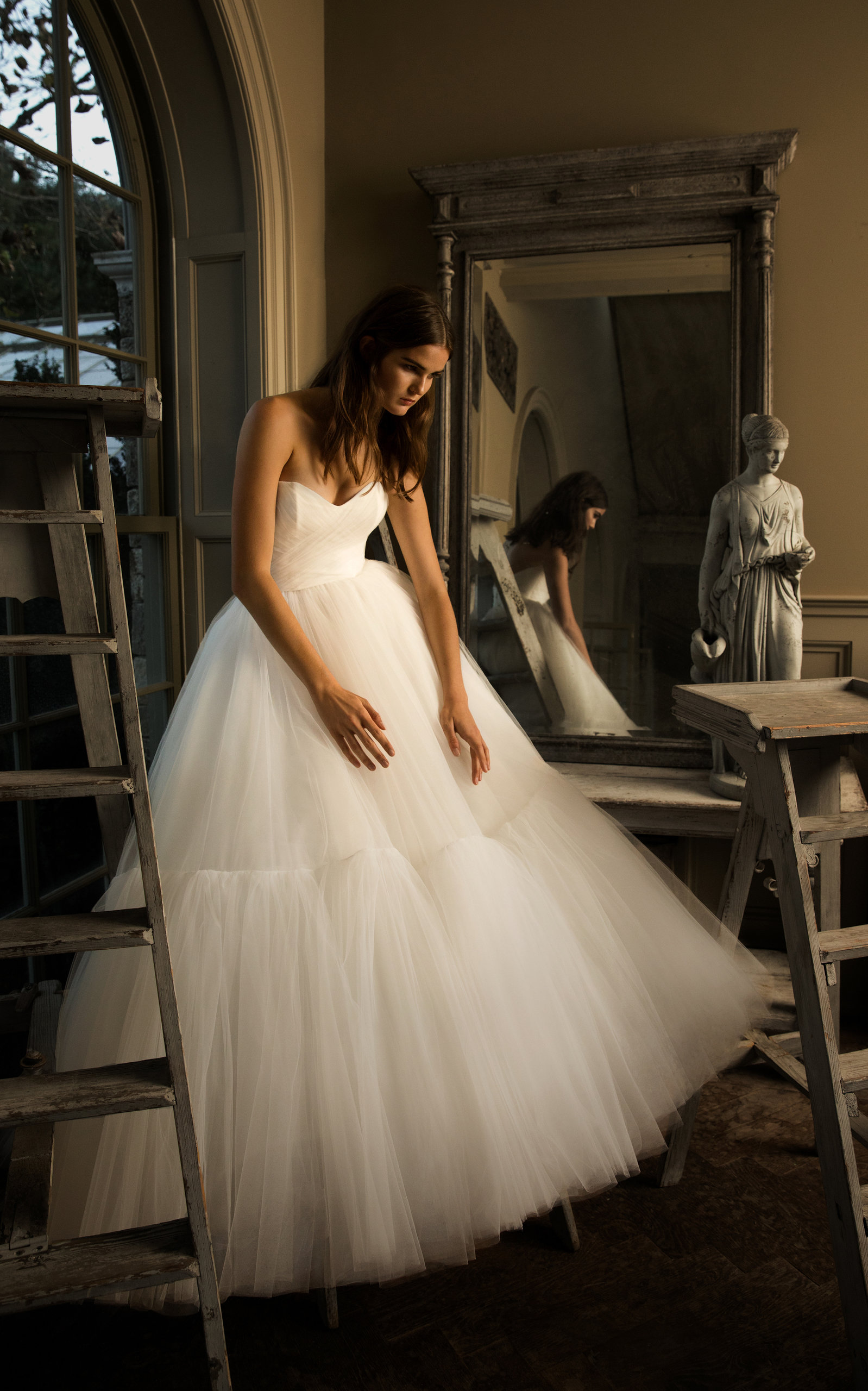 ISABELLE ARMSTRONG Liane Strapless Tulle Ruffle Ball Gown in White