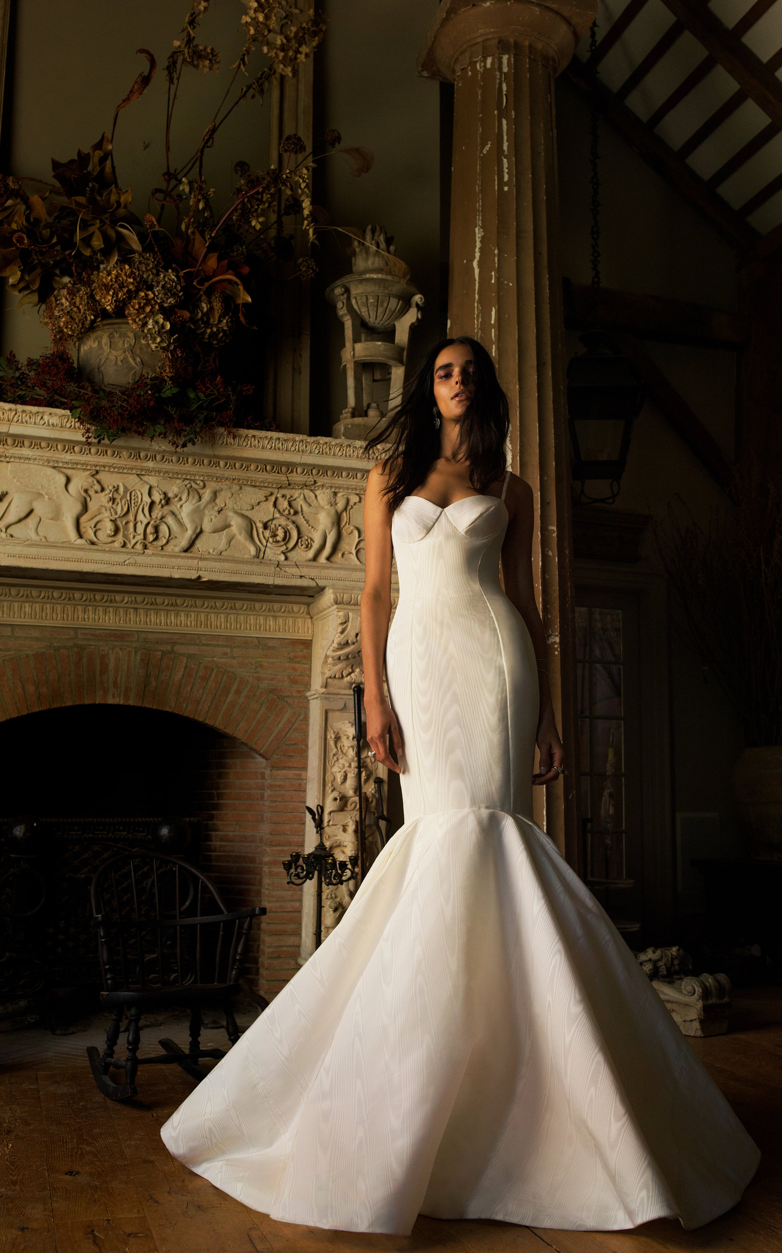 ISABELLE ARMSTRONG Tatiana Silk Mermaid Gown in White