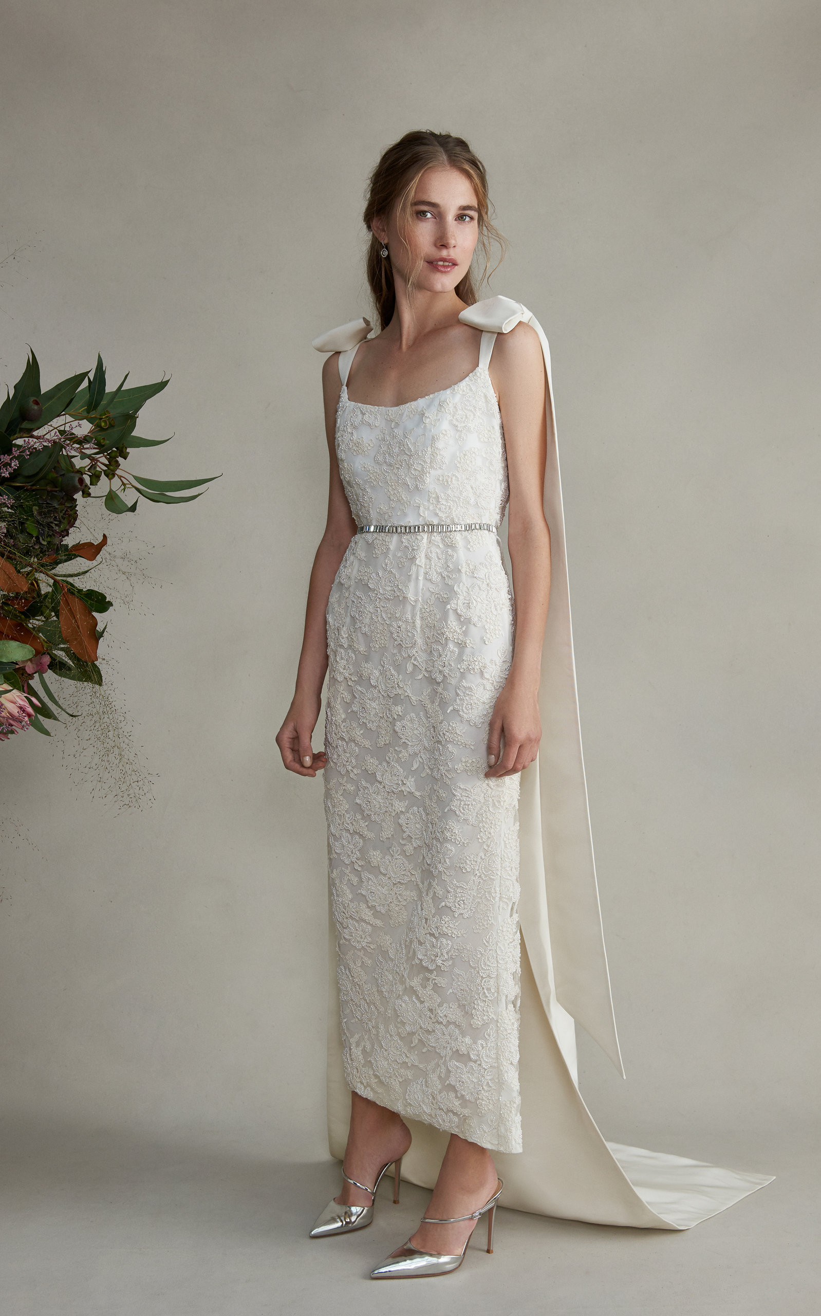 MARKARIAN Celestia Embellished Lace Dress With Train in White